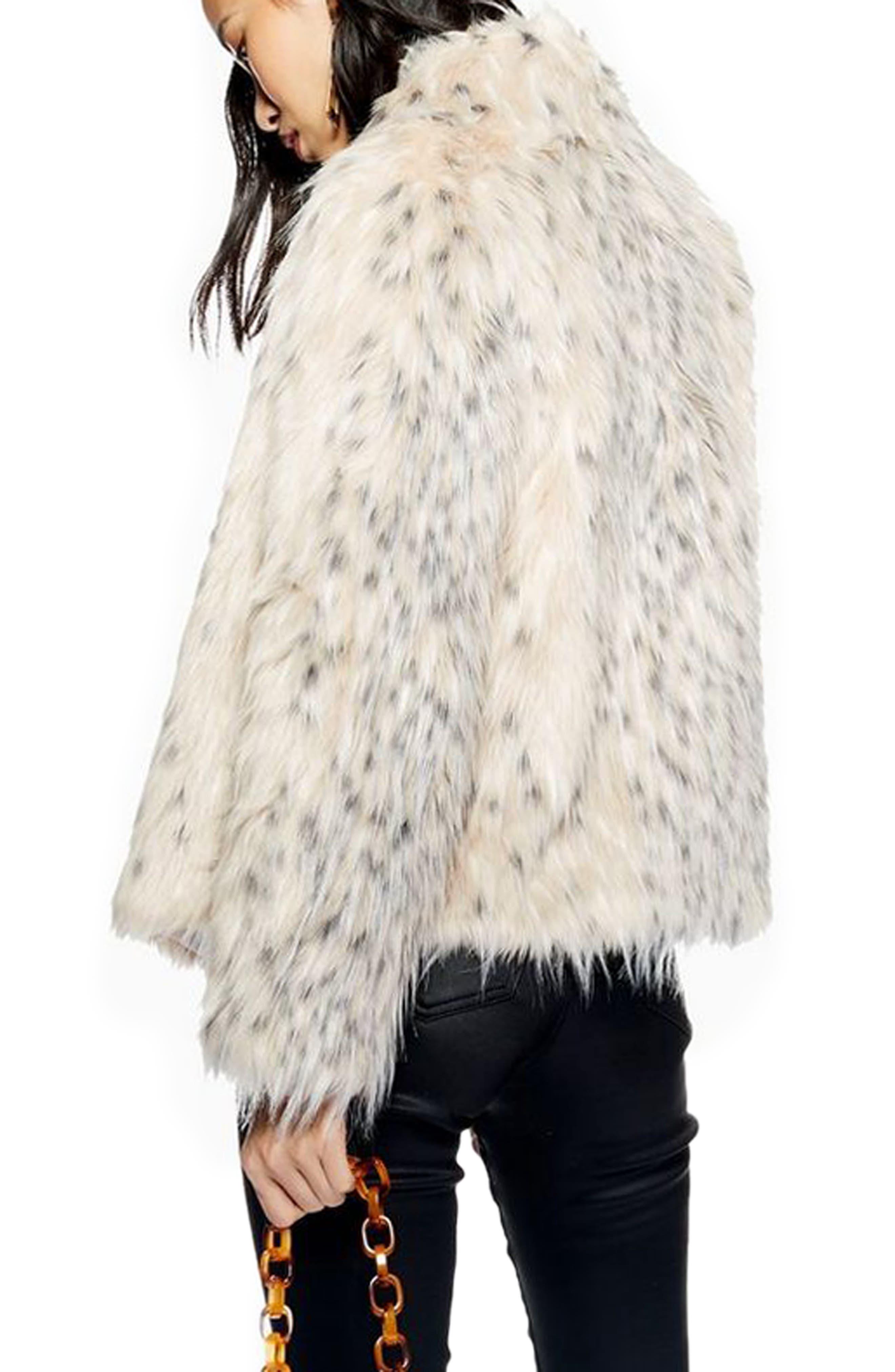TOPSHOP, Patsy Snow Leopard Faux Fur Jacket, Alternate thumbnail 2, color, 001