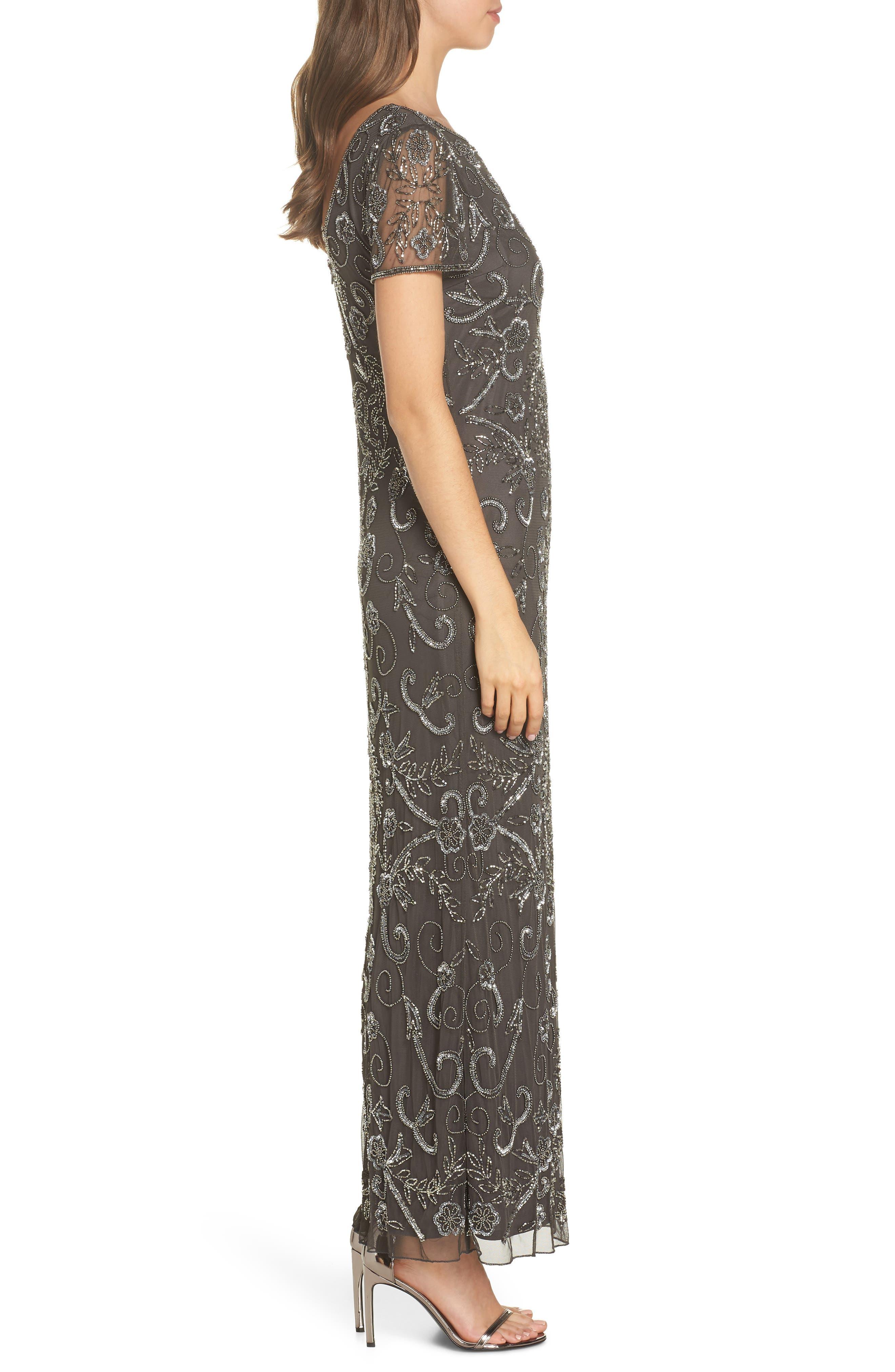 PISARRO NIGHTS, Embellished Mesh Evening Dress, Alternate thumbnail 4, color, SLIVER / GREY