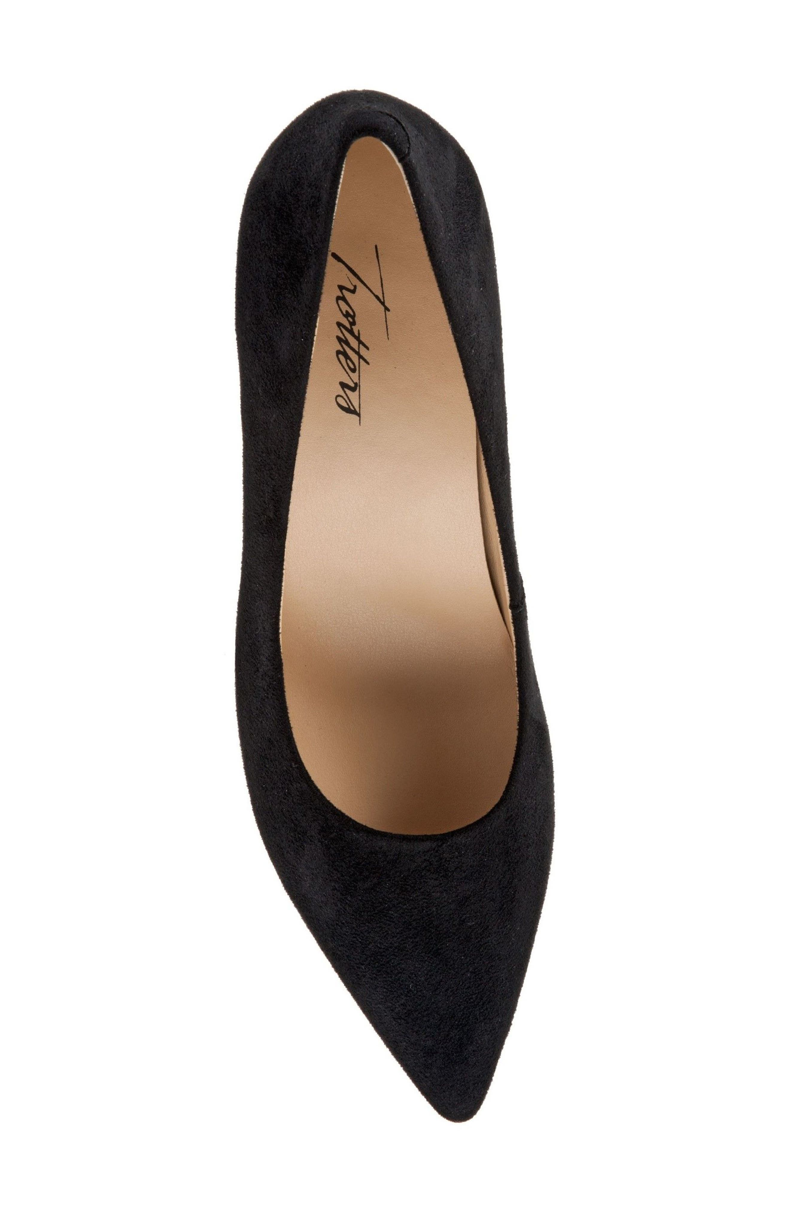 TROTTERS, Noelle Pointy Toe Pump, Alternate thumbnail 5, color, BLACK FABRIC