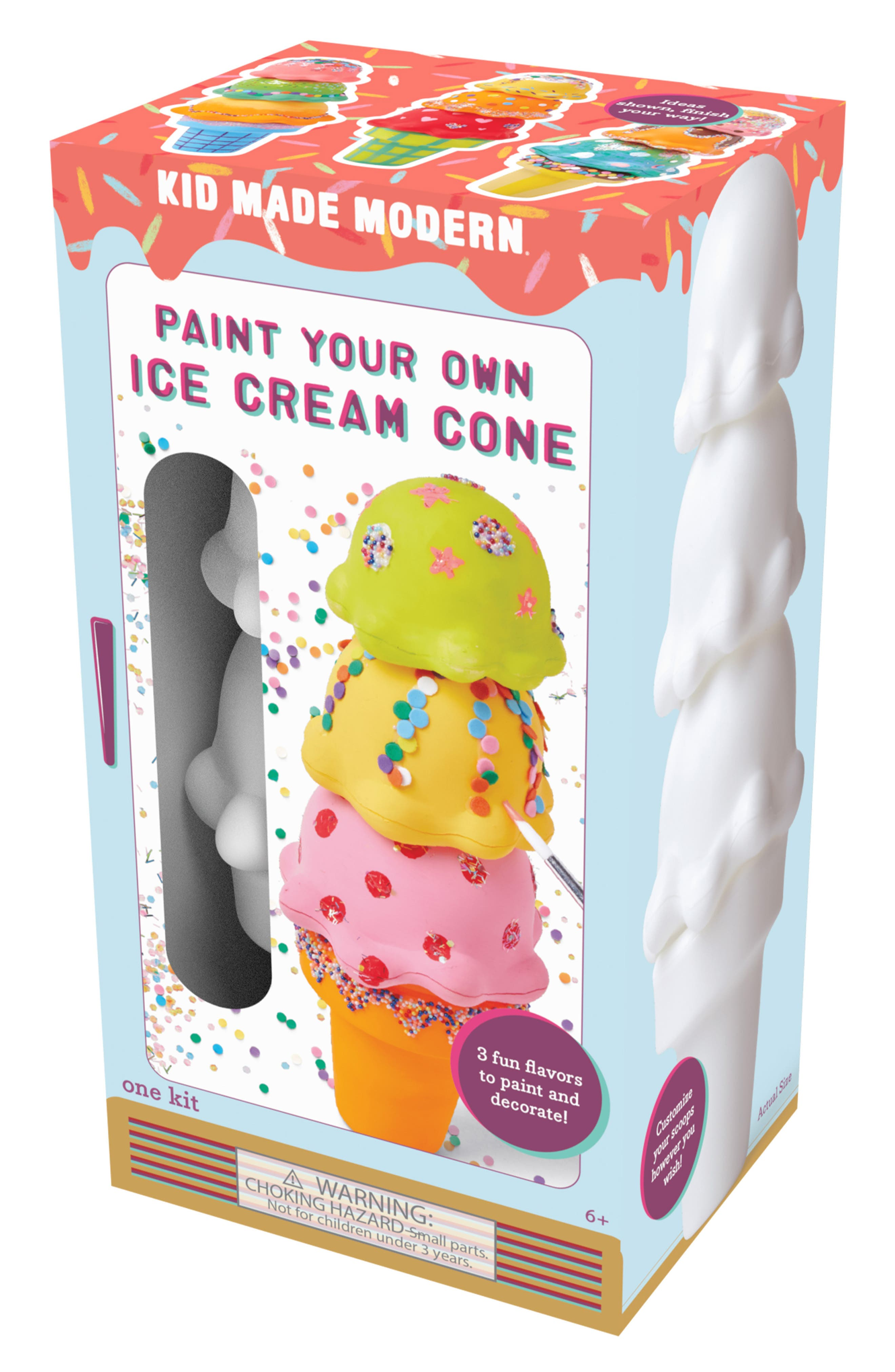KID MADE MODERN, Paint Your Own Ice Cream Cone Kit, Alternate thumbnail 2, color, MULTI