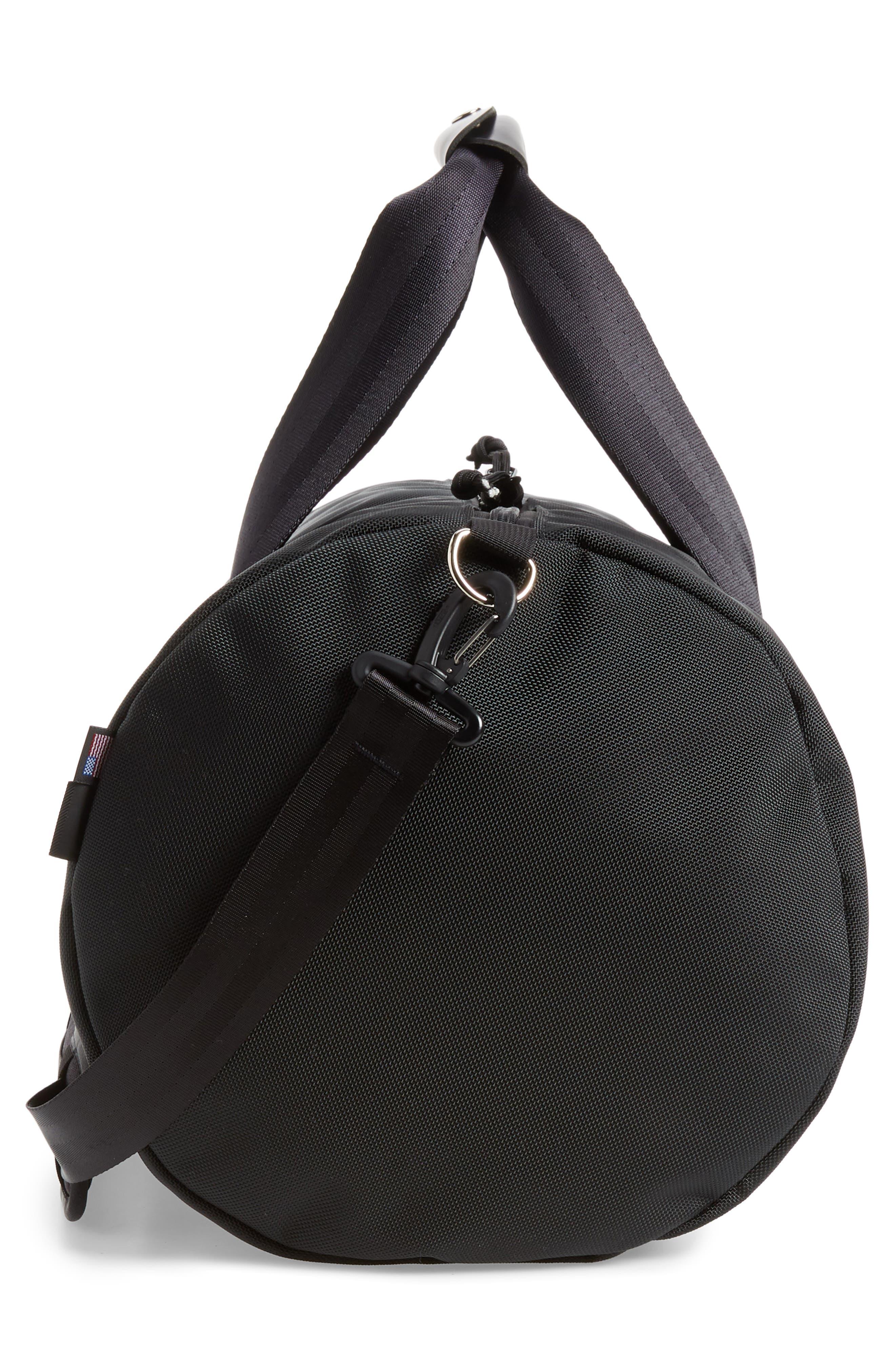 TOPO DESIGNS, Classic Duffle Bag, Alternate thumbnail 5, color, BALLISTIC BLACK/ BLACK LEATHER