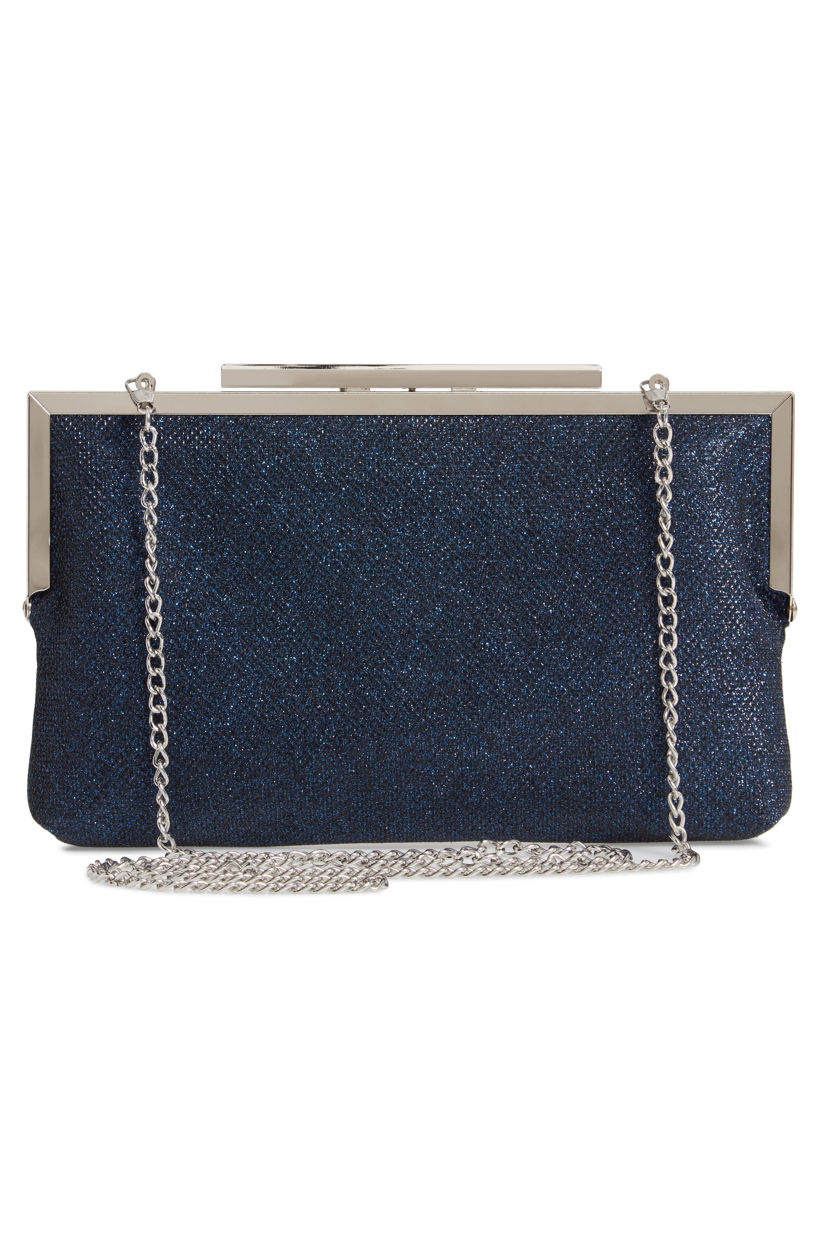 NINA, Louella Metallic Mesh Clutch, Alternate thumbnail 3, color, NAVY