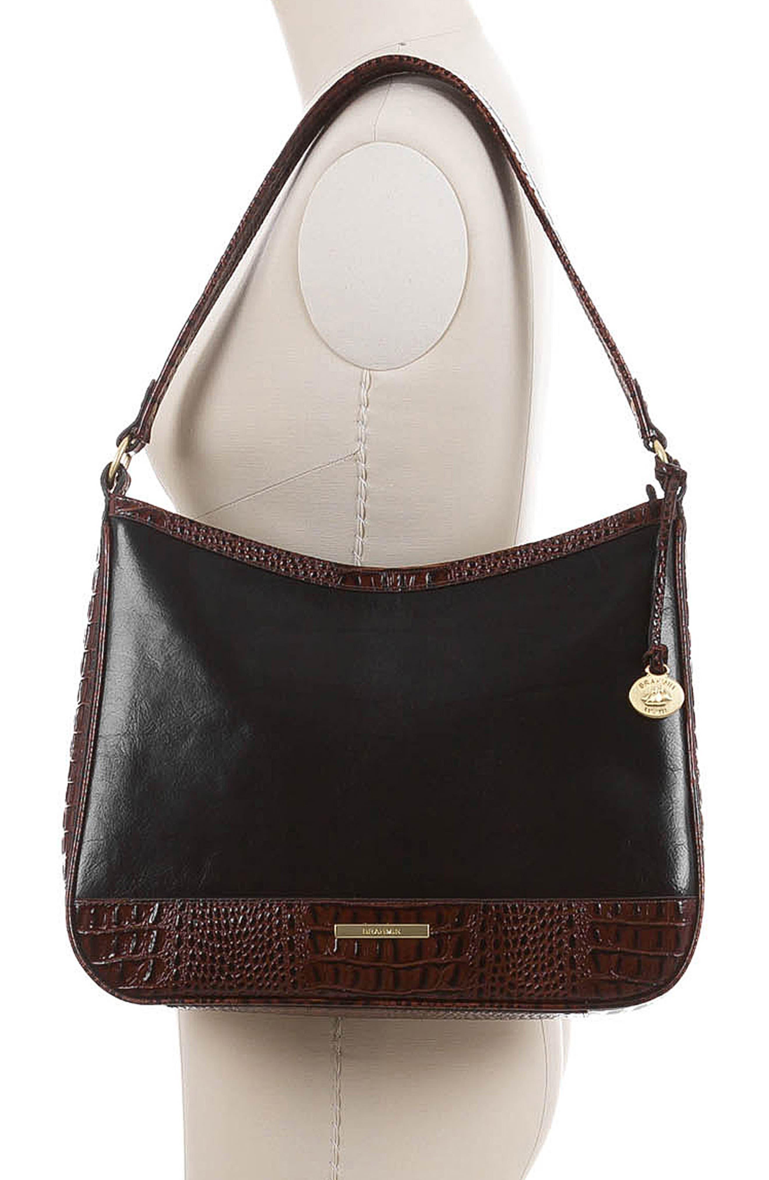 BRAHMIN, Noelle Leather Hobo Bag, Alternate thumbnail 2, color, 001