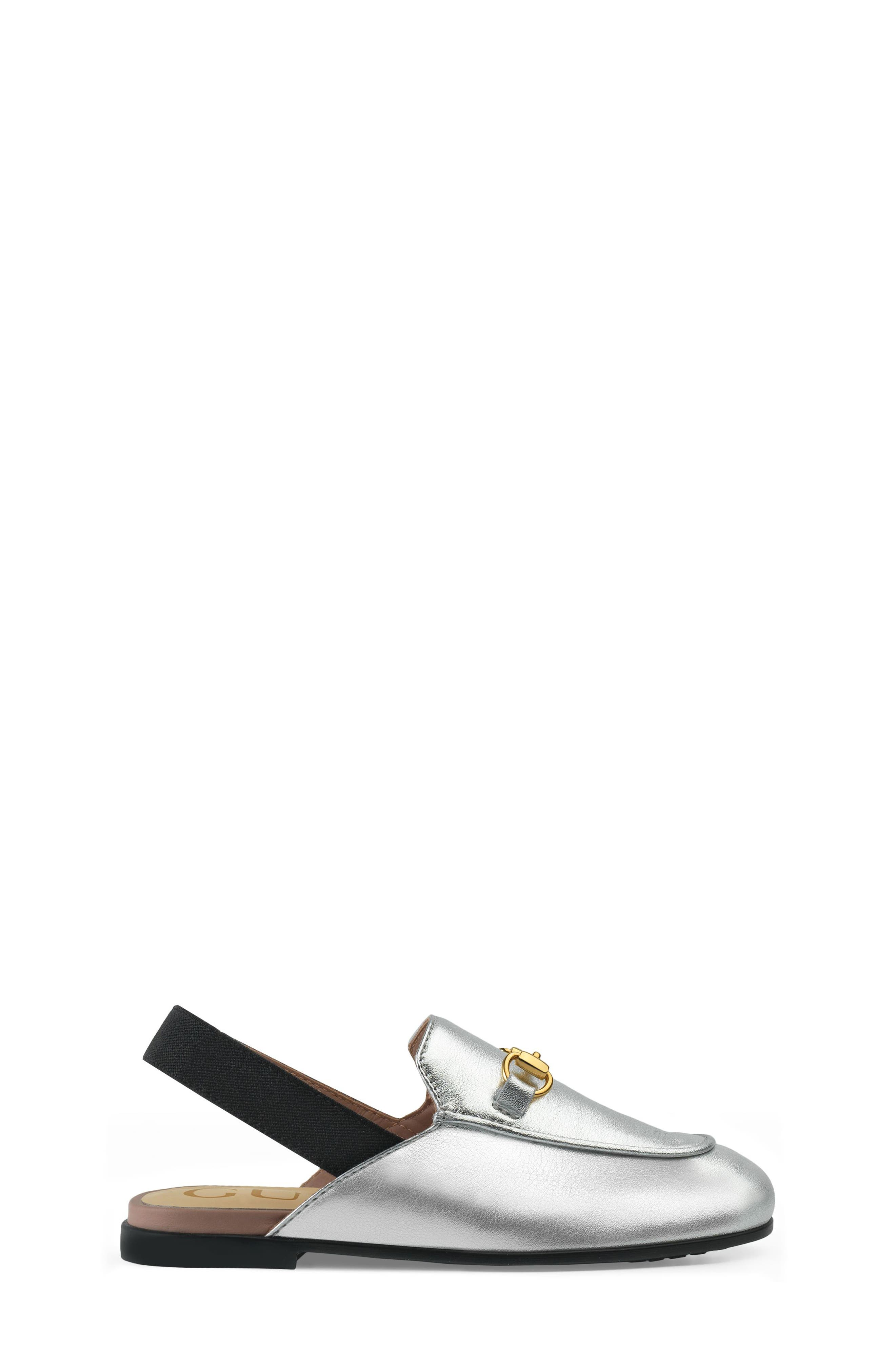 GUCCI, Princetown Loafer Mule, Alternate thumbnail 3, color, SILVER/ BLACK