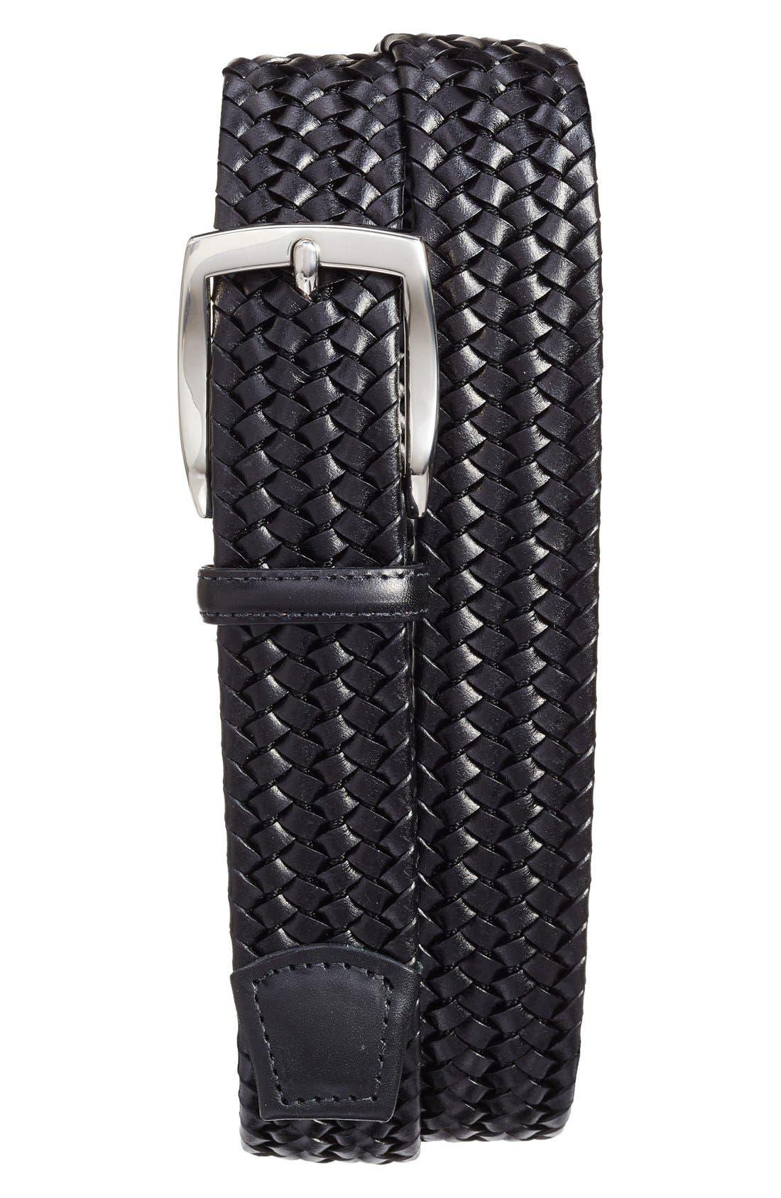 TORINO, Woven Leather Belt, Alternate thumbnail 3, color, BLACK