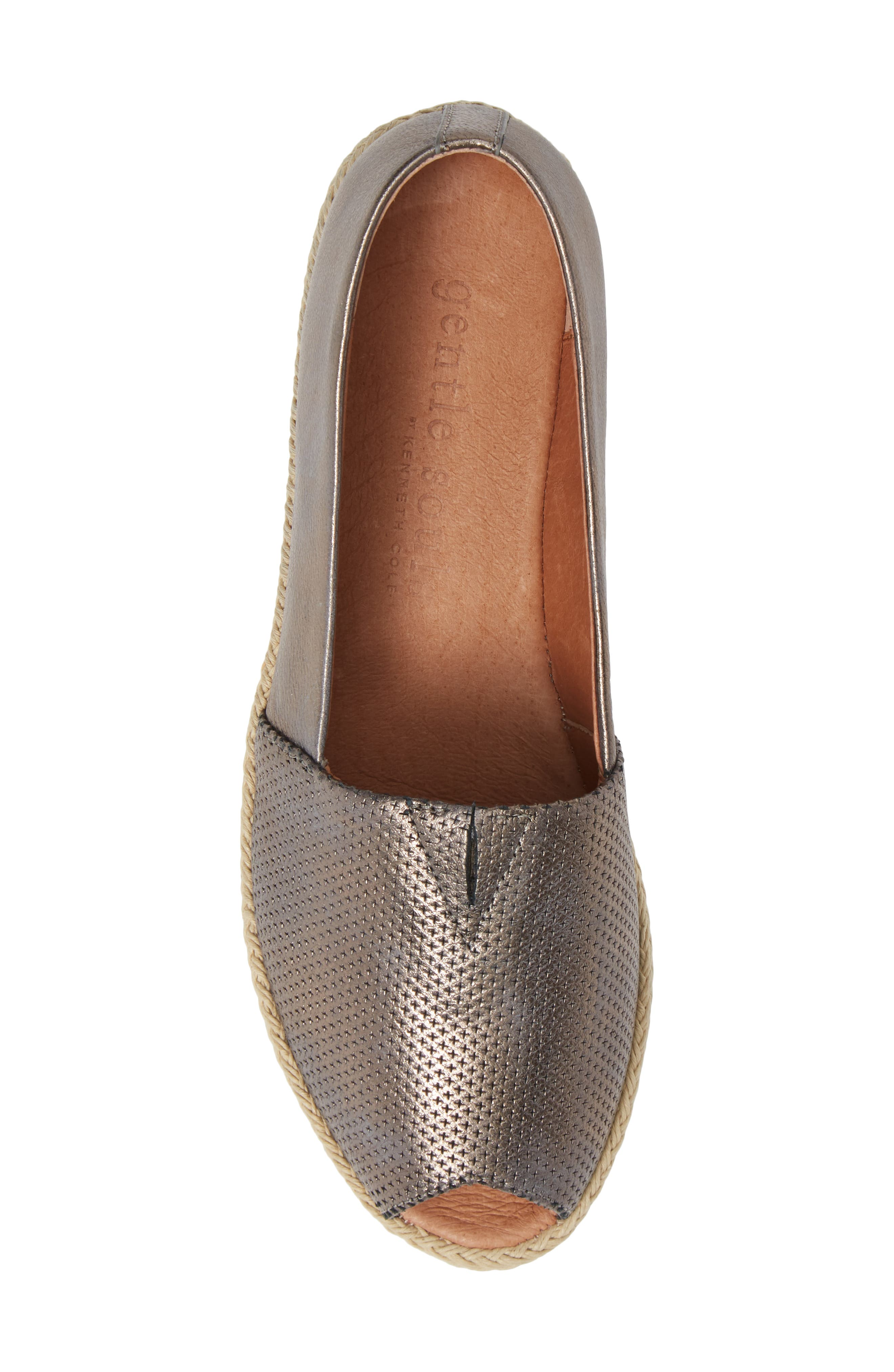 GENTLE SOULS BY KENNETH COLE, Luca Open Toe Wedge Espadrille, Alternate thumbnail 5, color, PEWTER METALLIC LEATHER