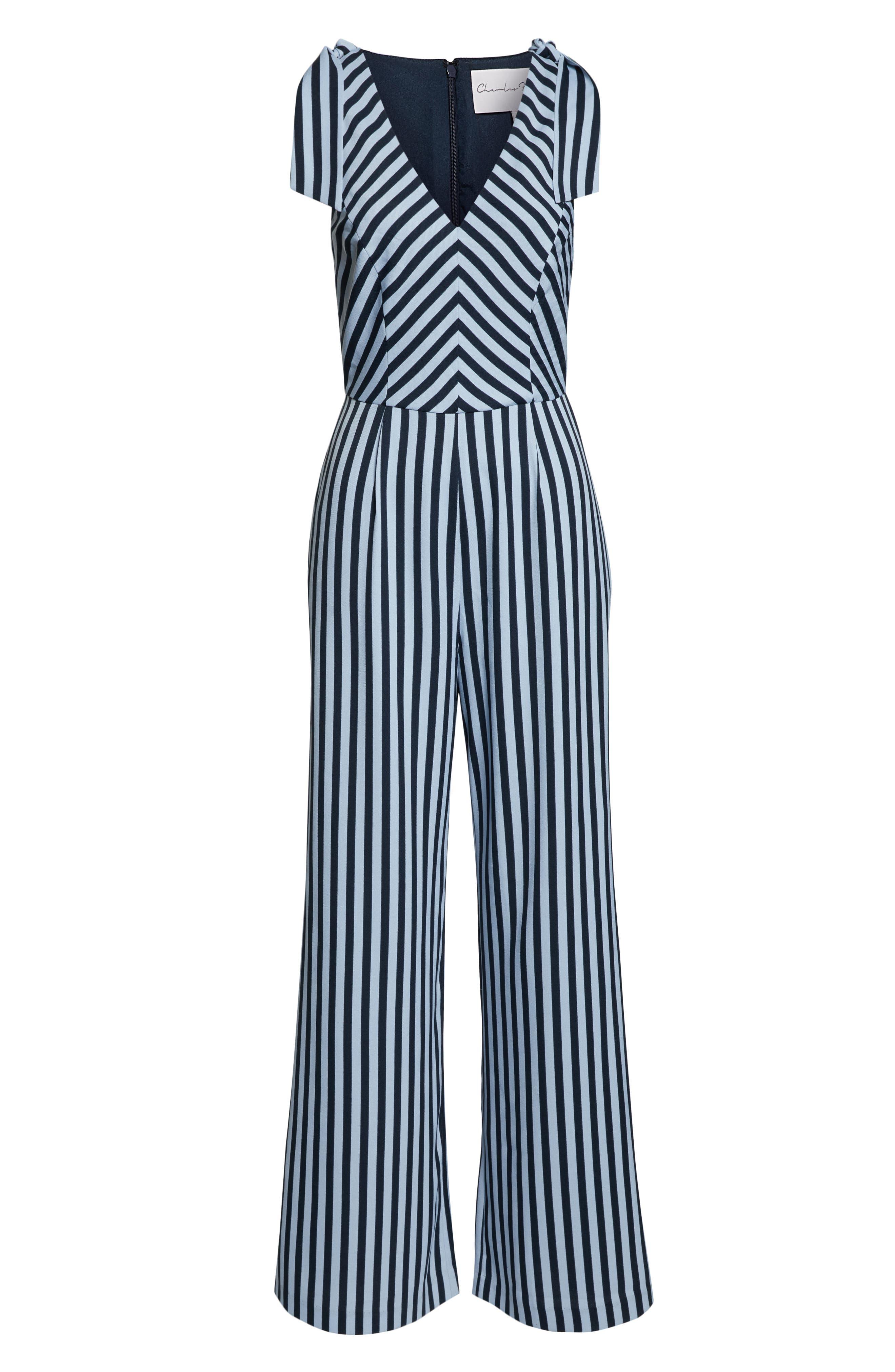 CHARLES HENRY, Stripe Tie Shoulder Jumpsuit, Alternate thumbnail 7, color, 400