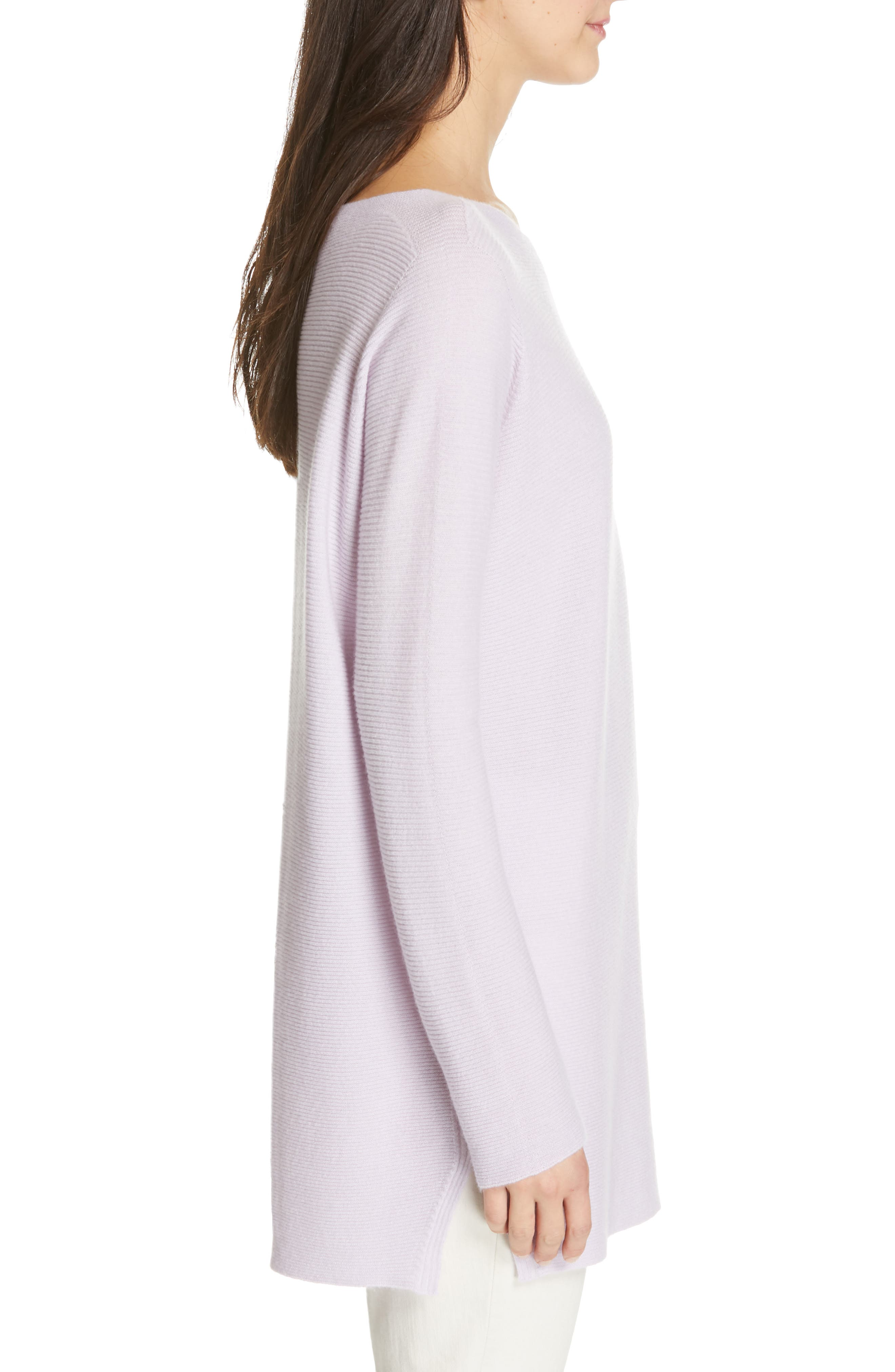 EILEEN FISHER, Bateau Neck Cashmere Tunic Sweater, Alternate thumbnail 3, color, MALLOW