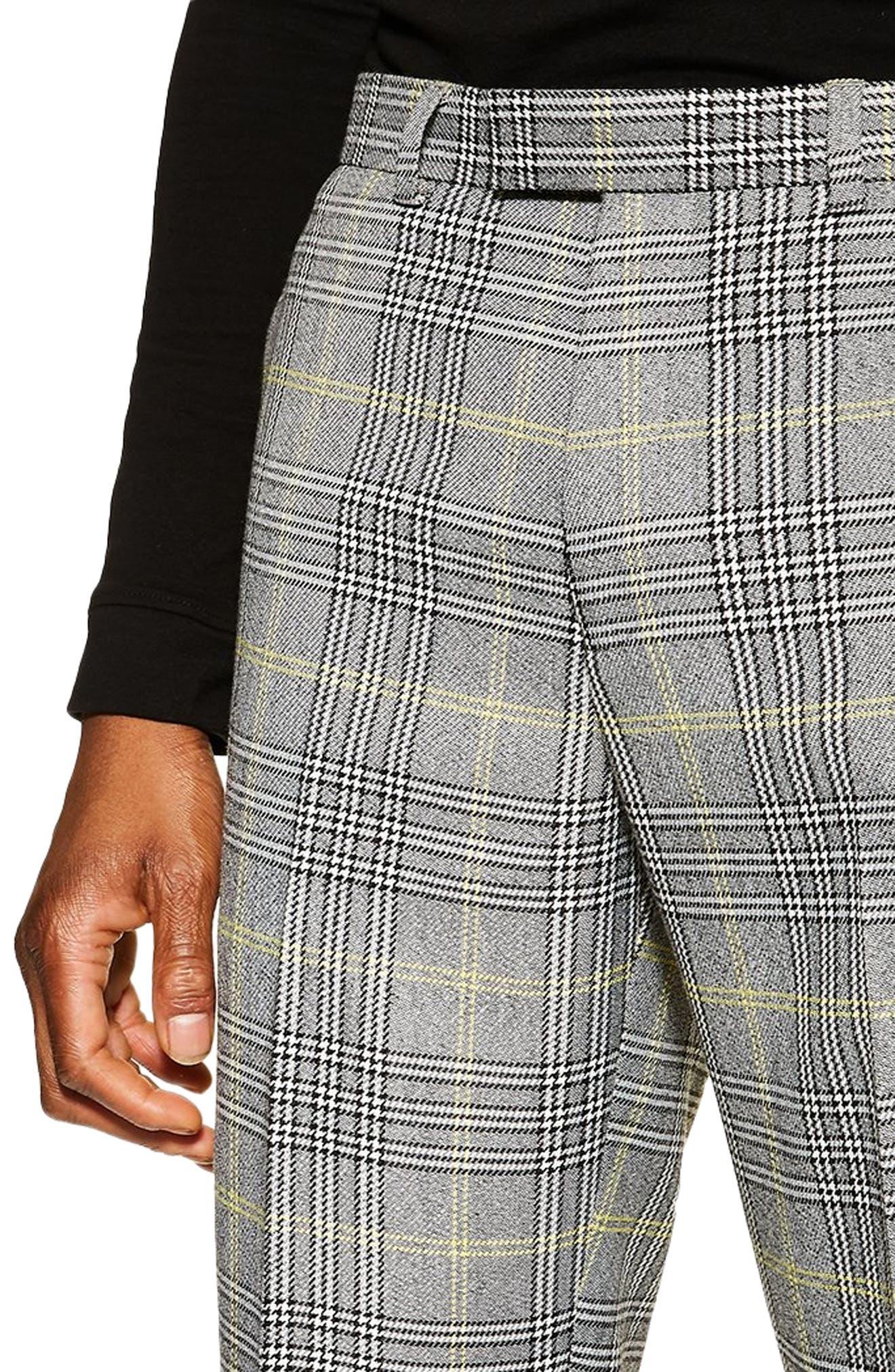 TOPMAN, Check Slim Trousers, Alternate thumbnail 4, color, GREY