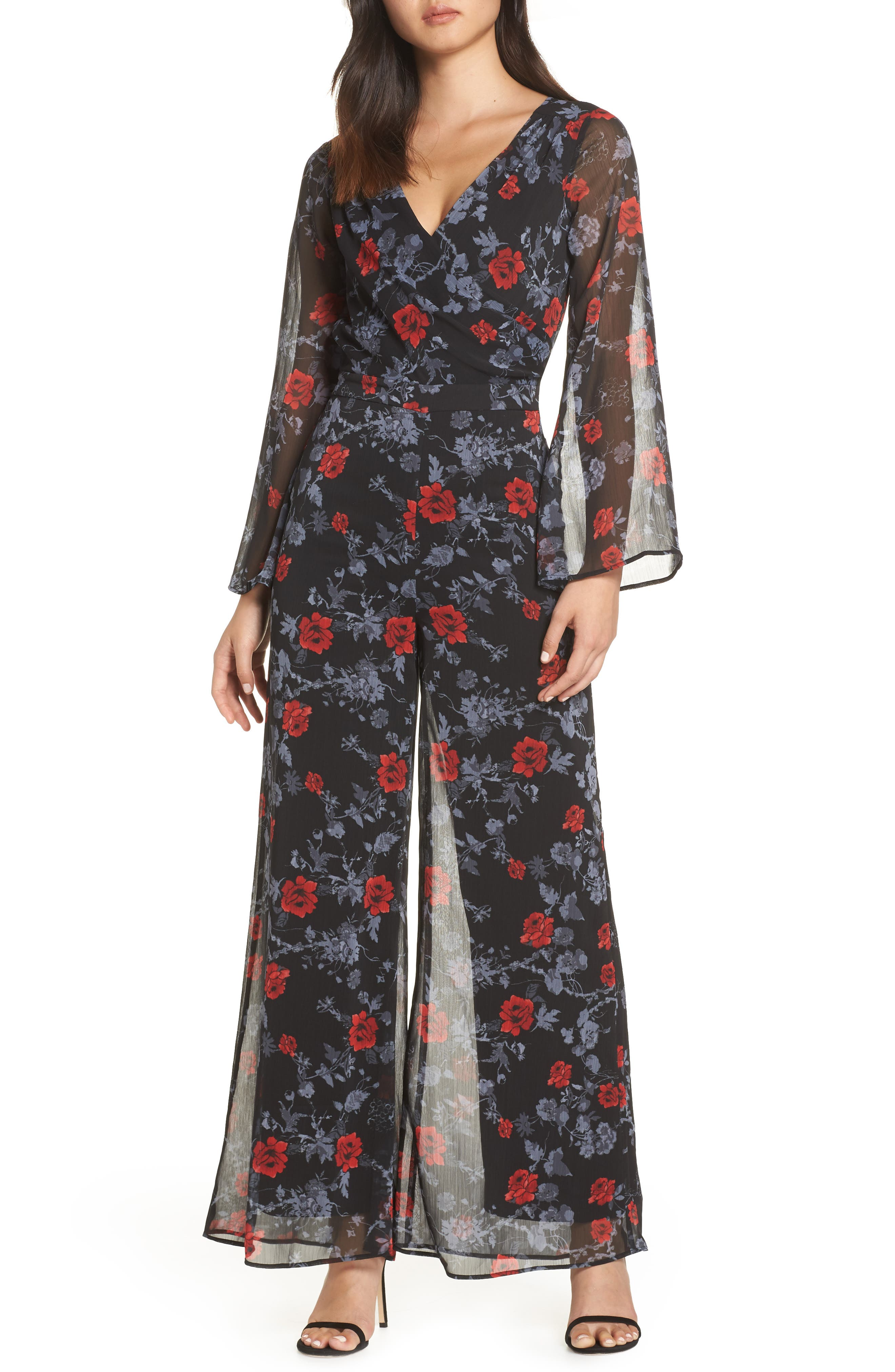 ALI & JAY, Only Wish Floral Jumpsuit, Main thumbnail 1, color, 001