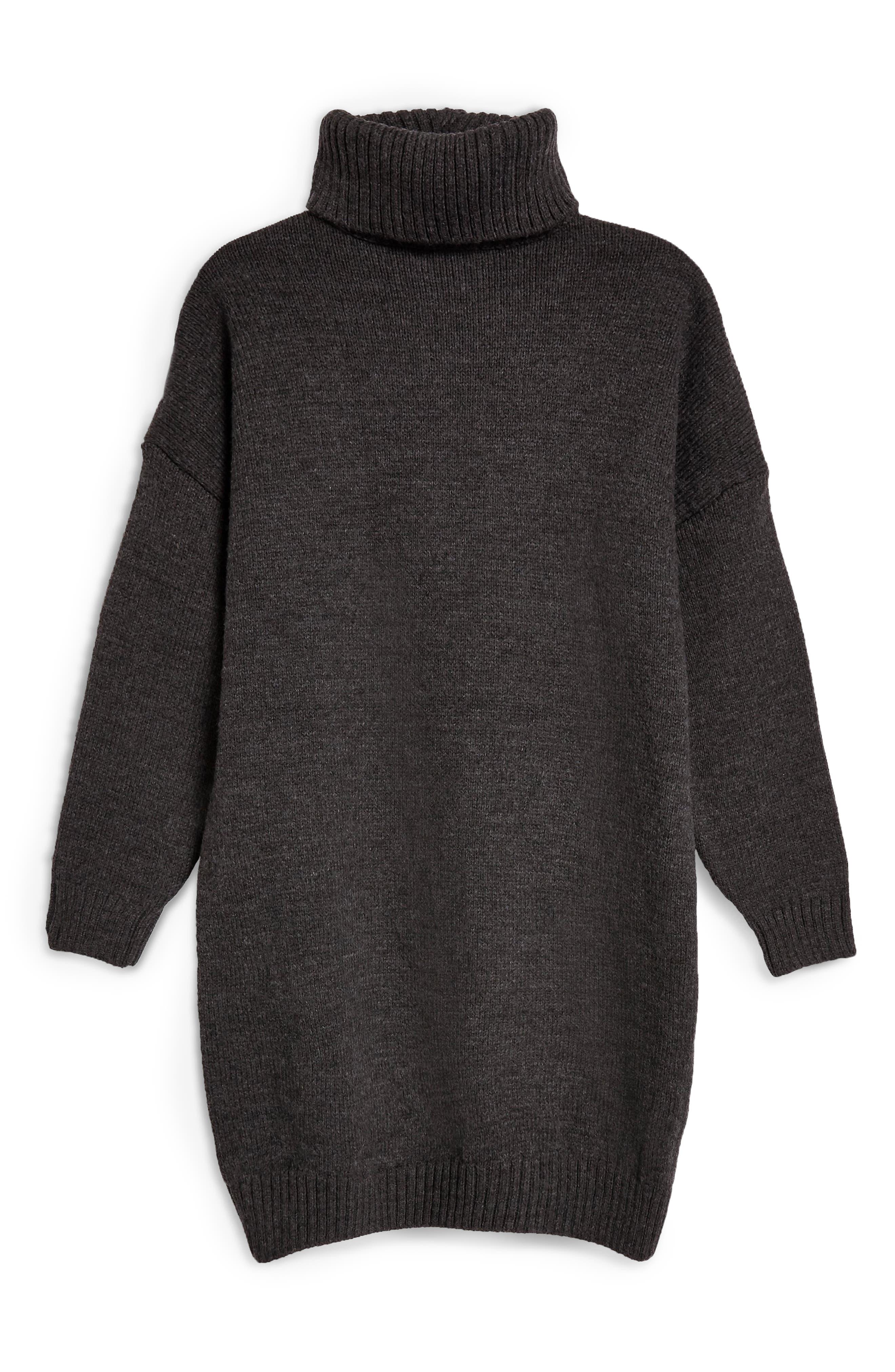 TOPSHOP, Turtleneck Sweater Dress, Alternate thumbnail 5, color, 021