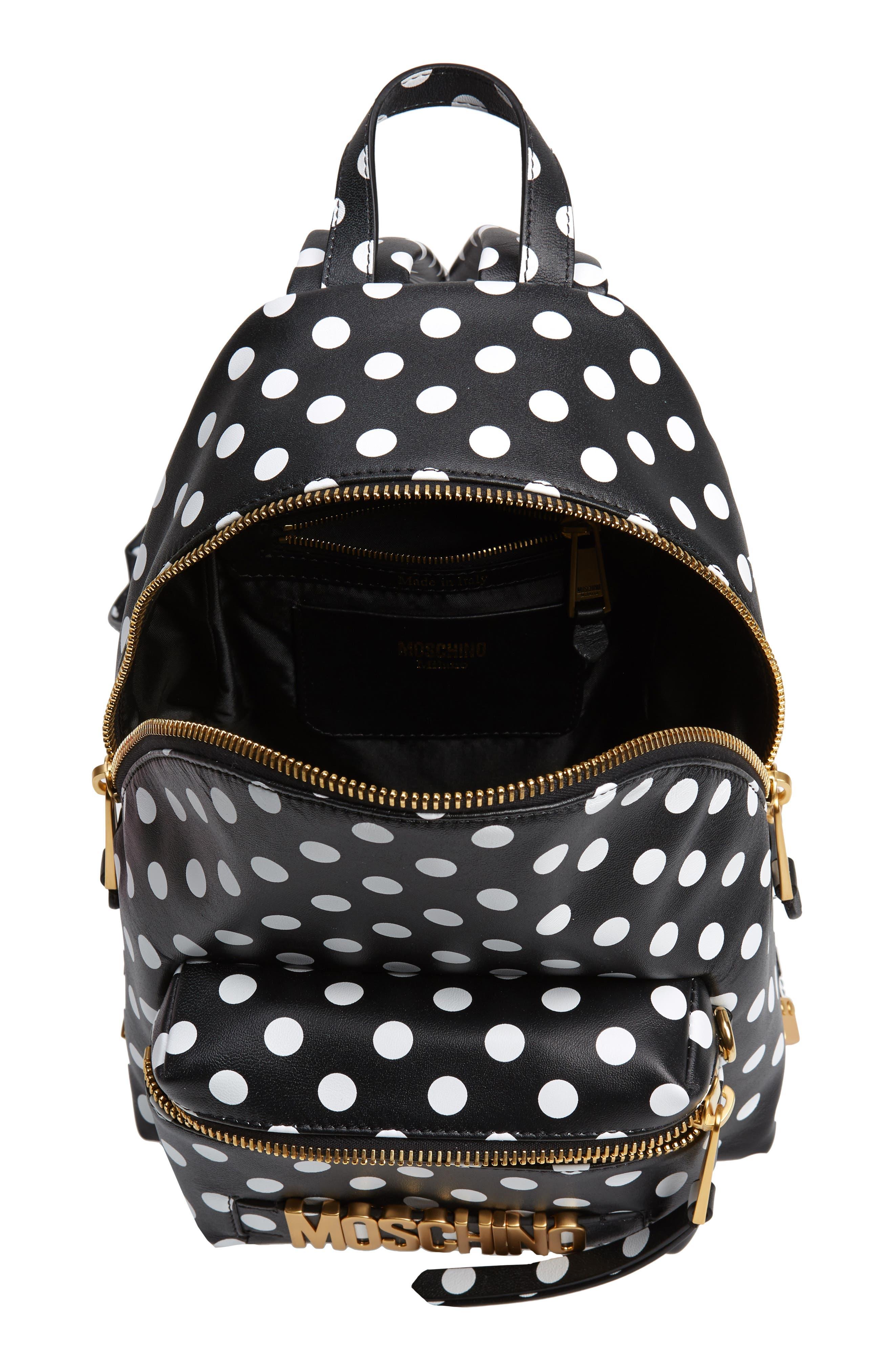 MOSCHINO, Logo Polka Dot Backpack, Alternate thumbnail 4, color, BLACK/ WHITE