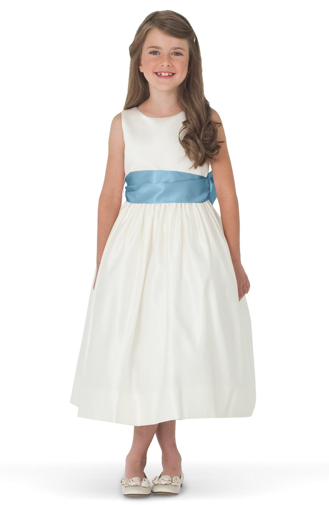 US ANGELS, Sleeveless Satin Dress with Contrast Sash, Main thumbnail 1, color, Ivory/ capri