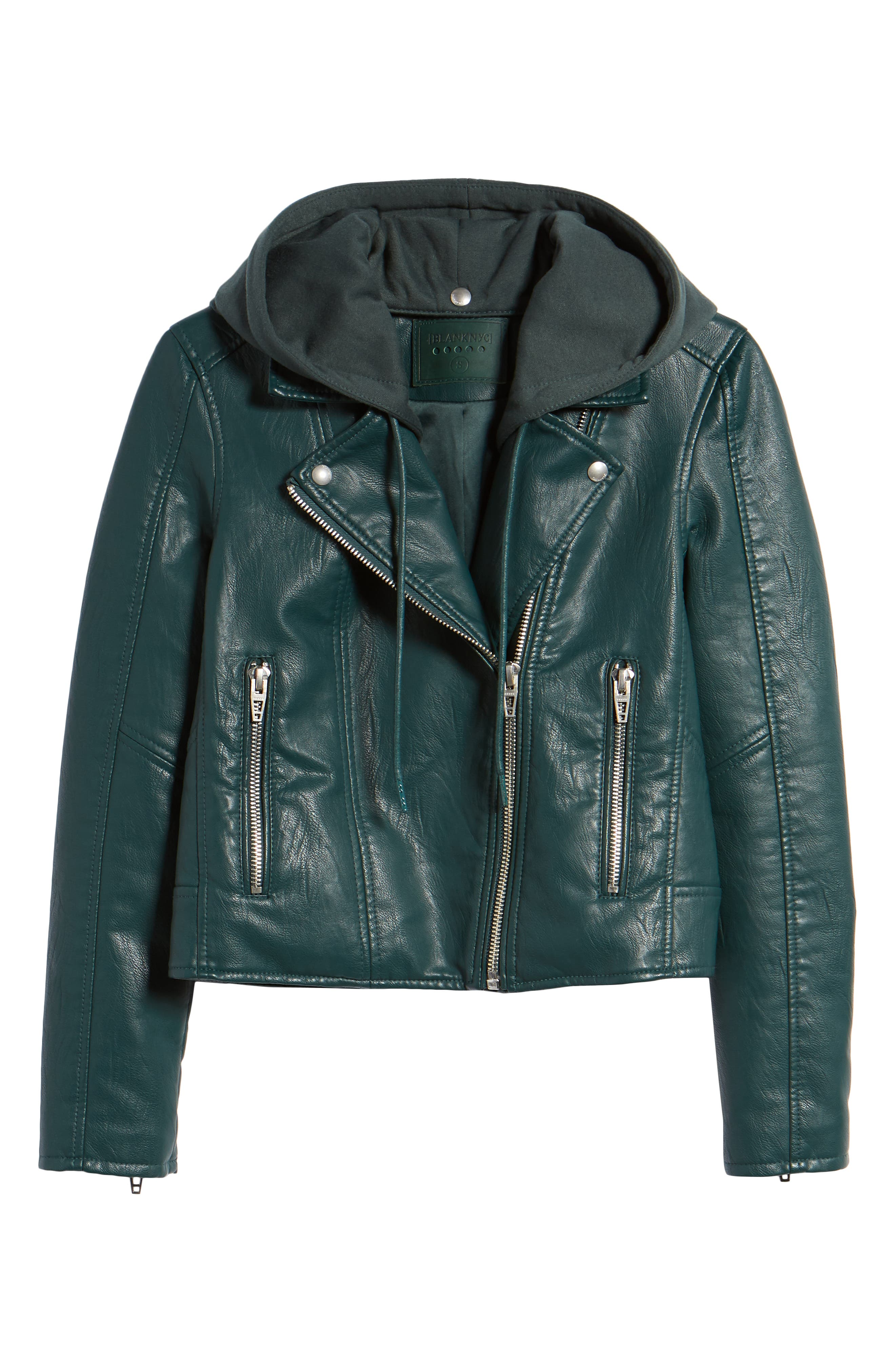BLANKNYC, Meant to Be Moto Jacket with Removable Hood, Alternate thumbnail 6, color, EVERGREEN