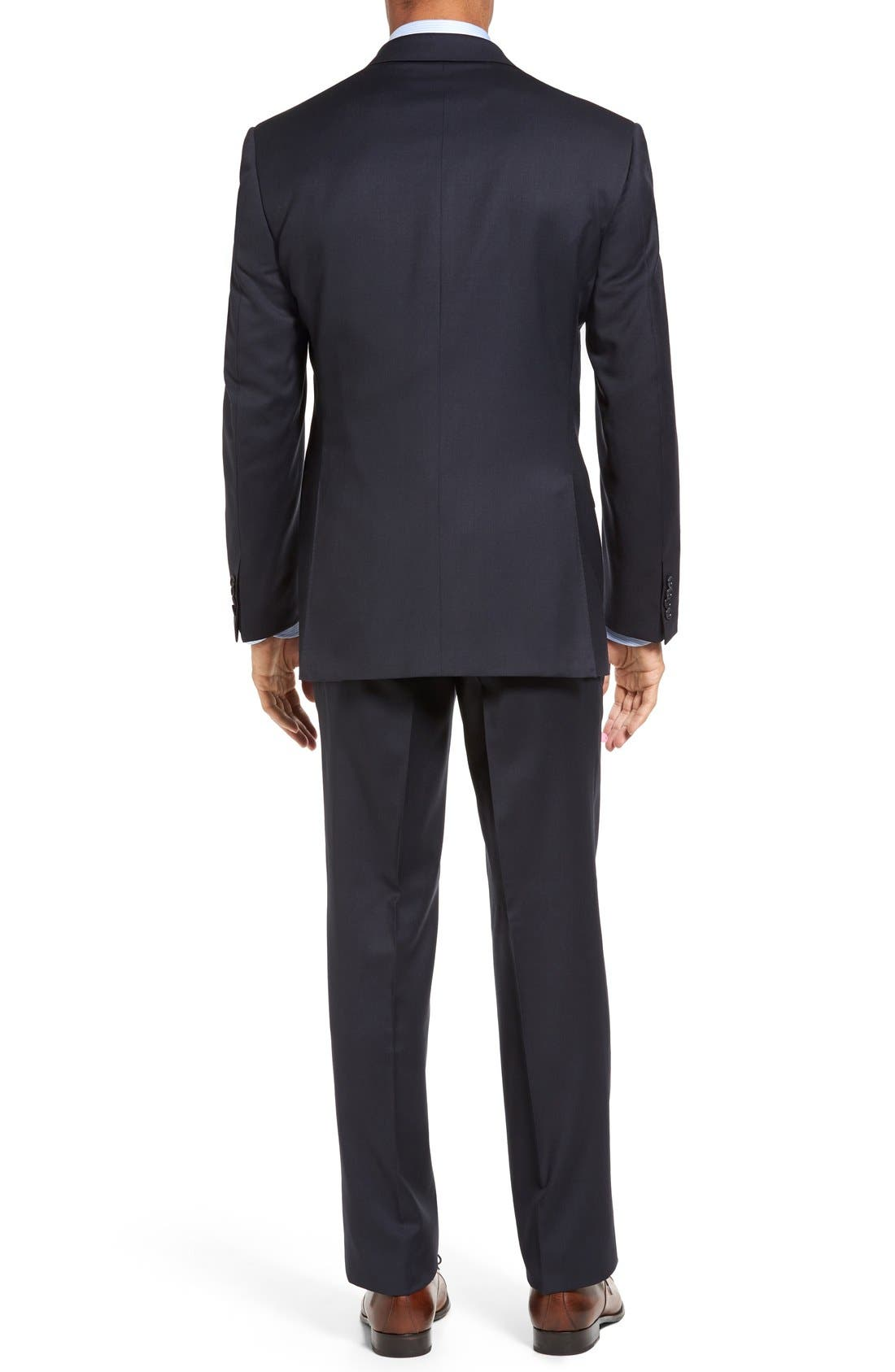 CANALI, Classic Fit Solid Wool Suit, Alternate thumbnail 2, color, NAVY
