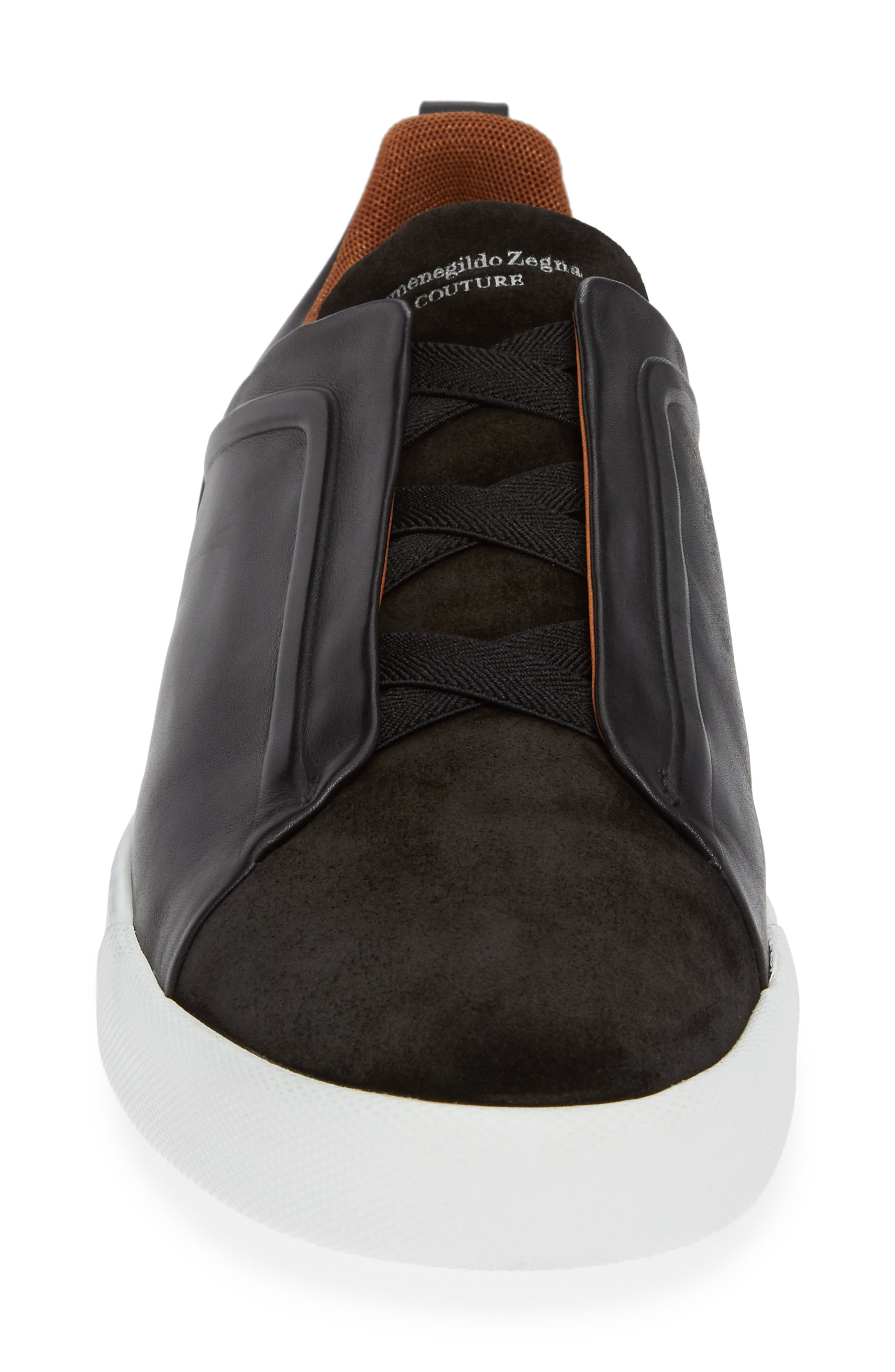 ERMENEGILDO ZEGNA, Slip-On Sneaker, Alternate thumbnail 4, color, BLACK