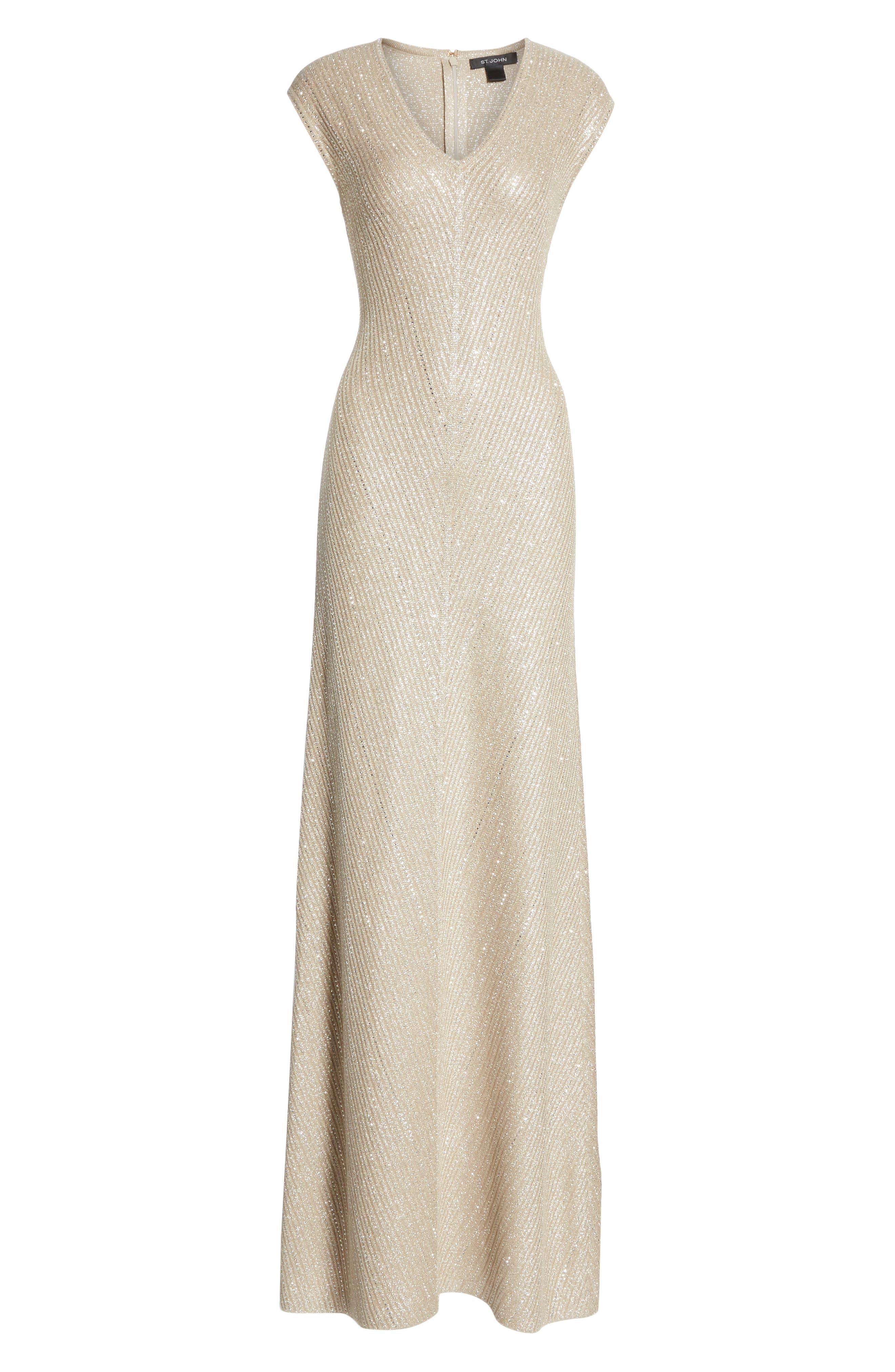 ST. JOHN COLLECTION, Brielle Knit V-Neck Gown, Alternate thumbnail 6, color, DARK KHAKI/ GOLD