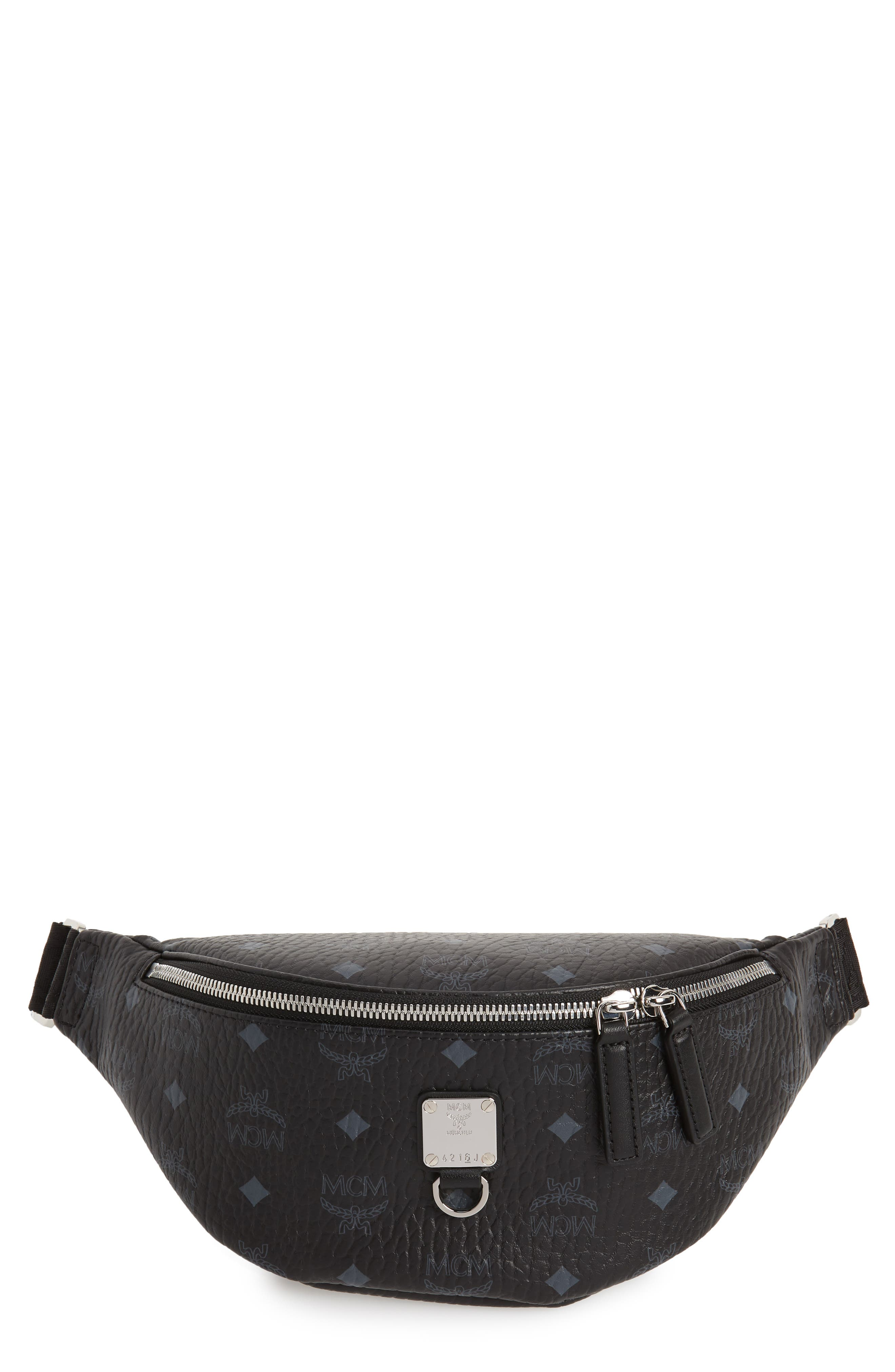 MCM Fursten Visetos Small Belt Bag, Main, color, BLACK