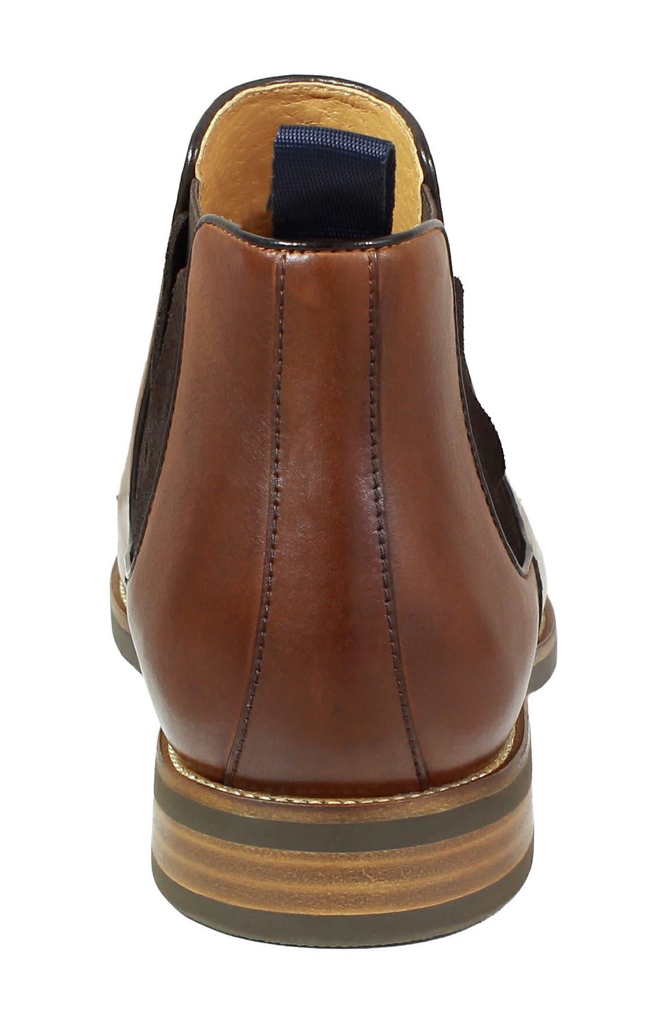 FLORSHEIM, Uptown Plain Toe Mid Chelsea Boot, Alternate thumbnail 7, color, COGNAC LEATHER