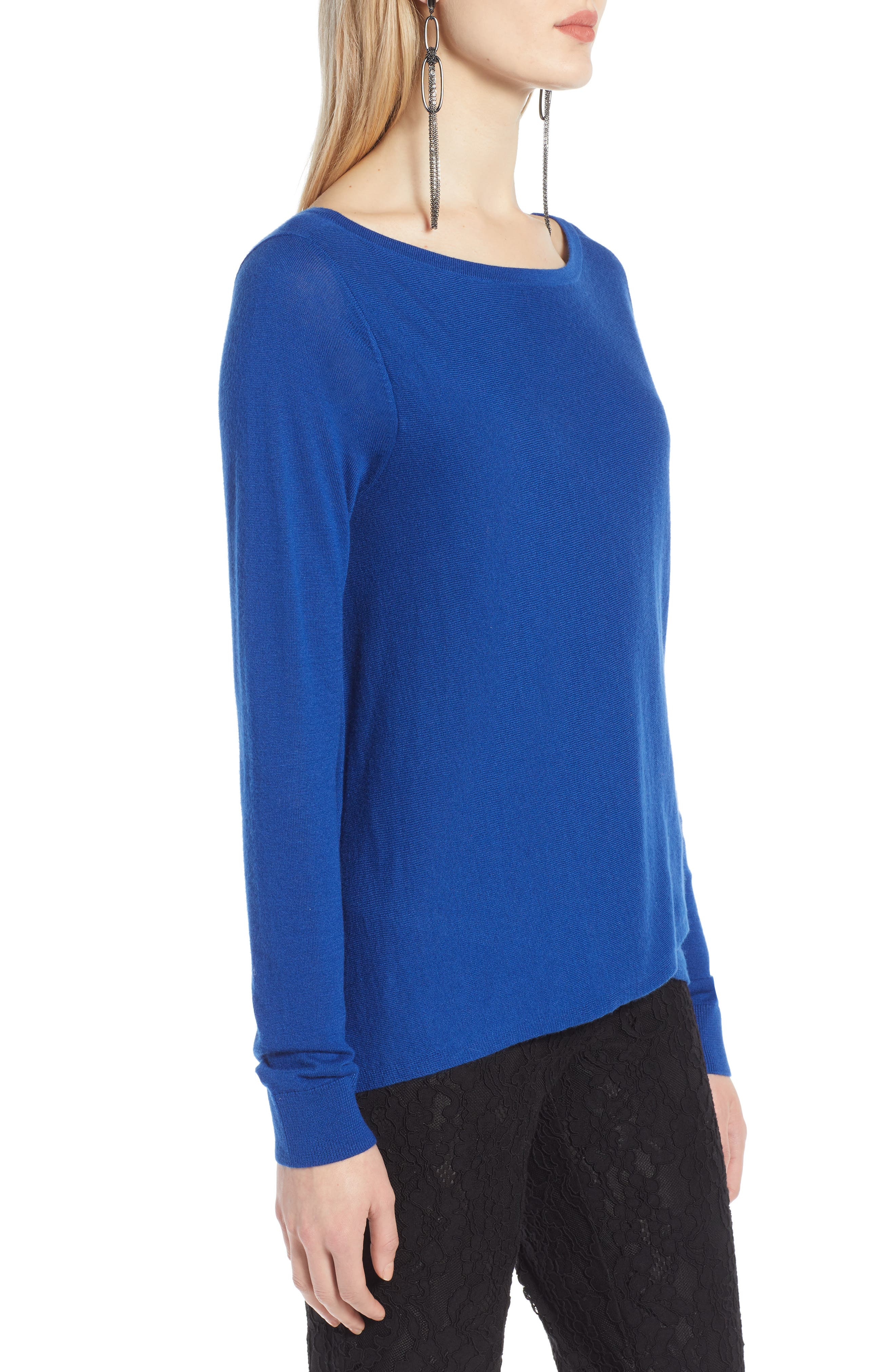 HALOGEN<SUP>®</SUP>, Crossover Front Knit Sweater, Alternate thumbnail 3, color, BLUE MAZARINE