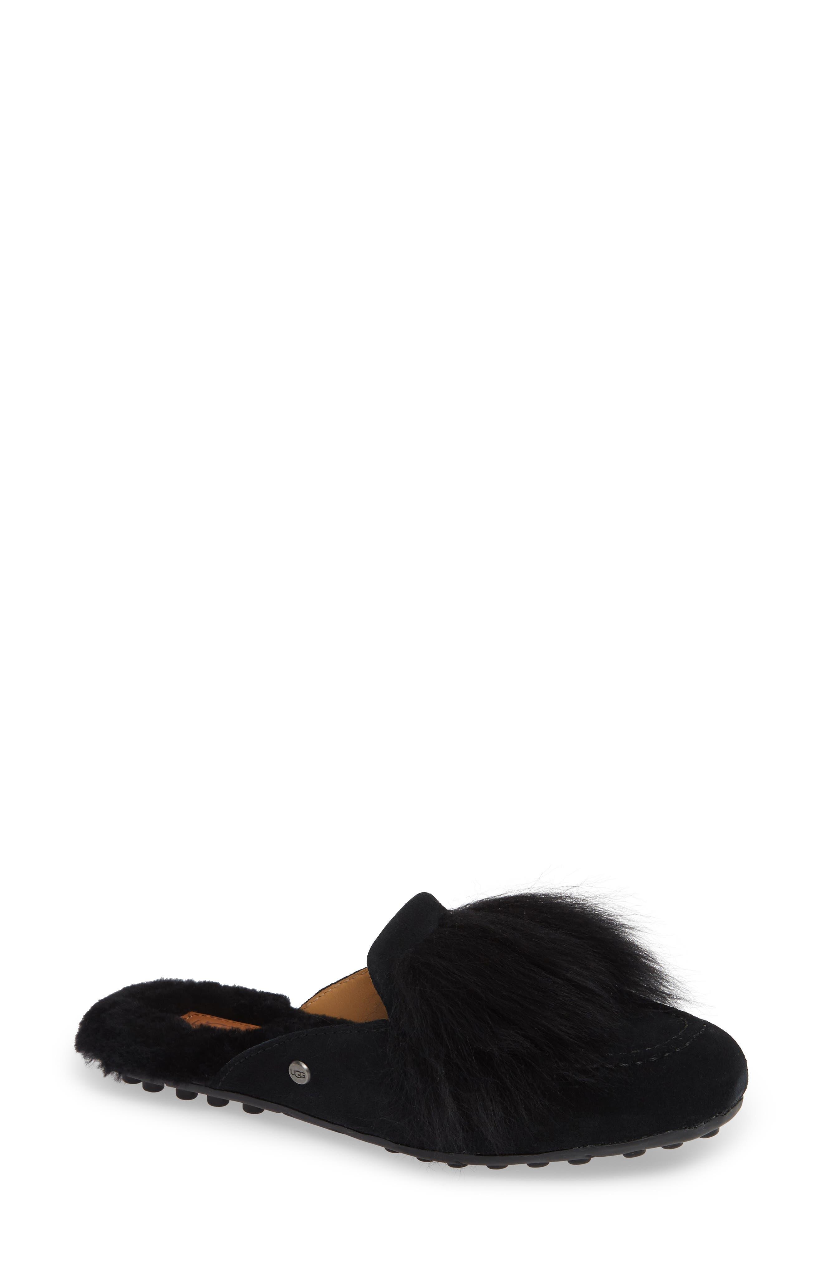 UGG<SUP>®</SUP>, Shaine Wisp Genuine Shearling Slipper, Main thumbnail 1, color, BLACK