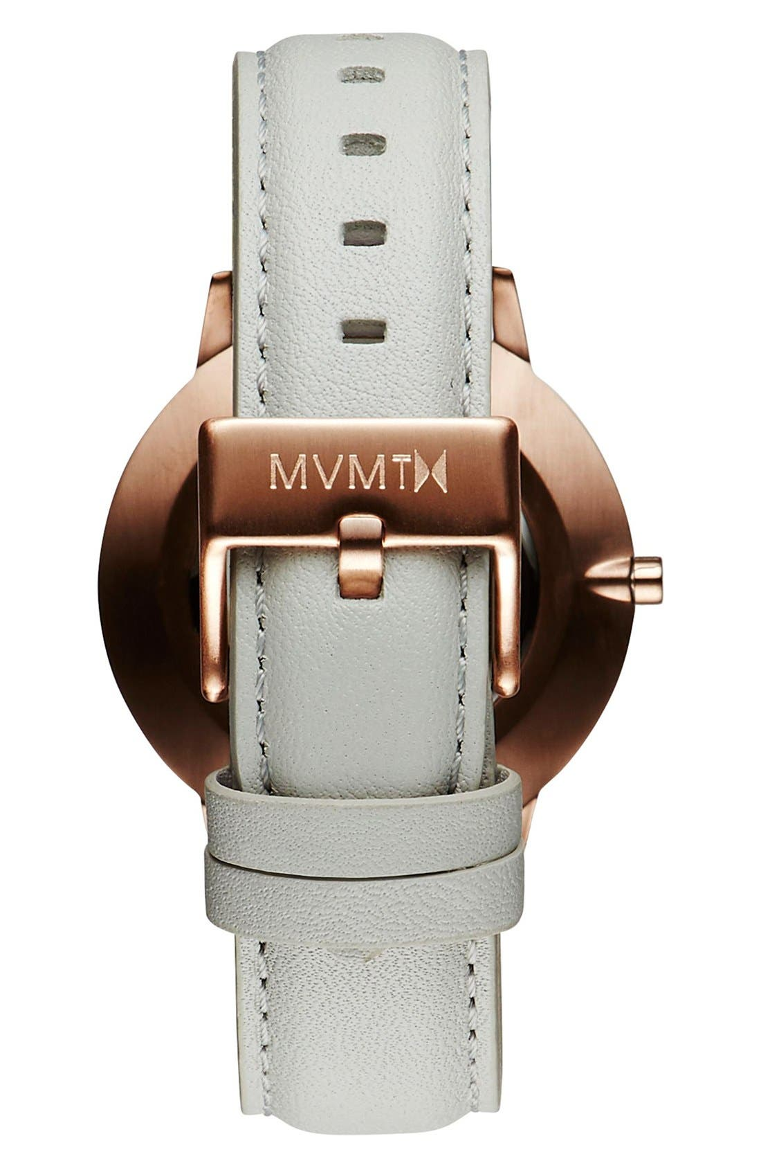MVMT, Boulevard Leather Strap Watch, 38mm, Alternate thumbnail 2, color, GREY/ WHITE/ ROSE GOLD