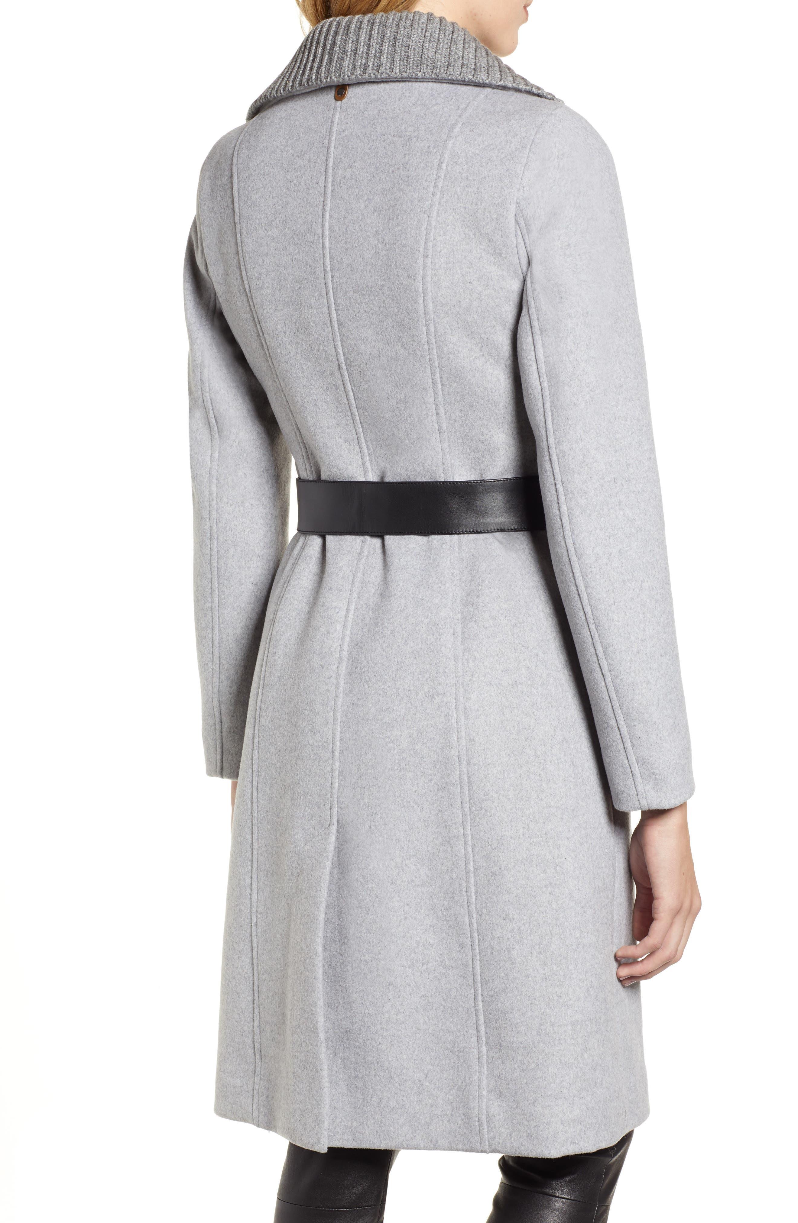 MACKAGE, Nori Belted Wool Blend Coat, Alternate thumbnail 2, color, LIGHT GREY