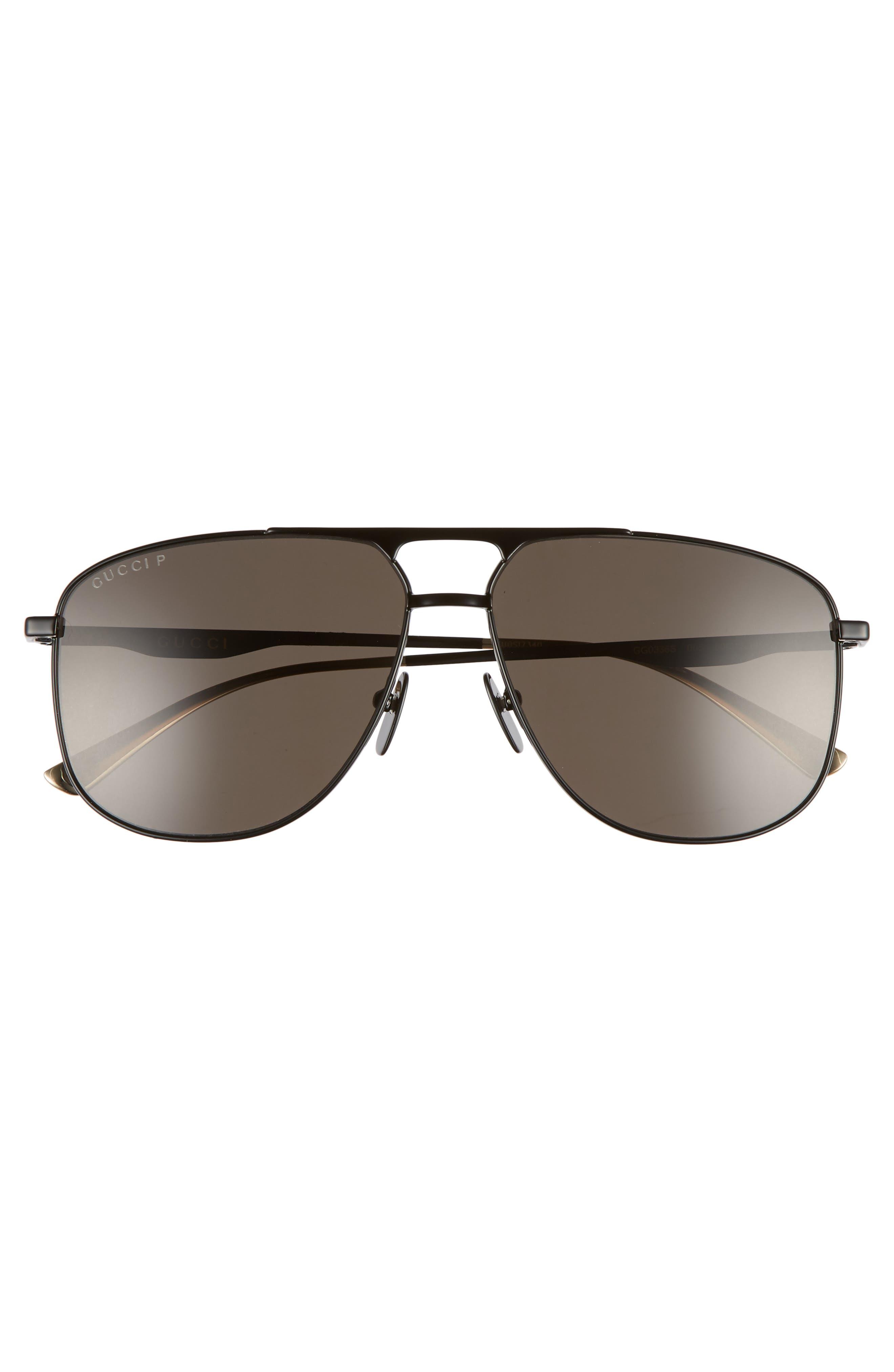 GUCCI, 80s Monocolor 60mm Polarized Aviator Sunglasses, Alternate thumbnail 2, color, BLACK