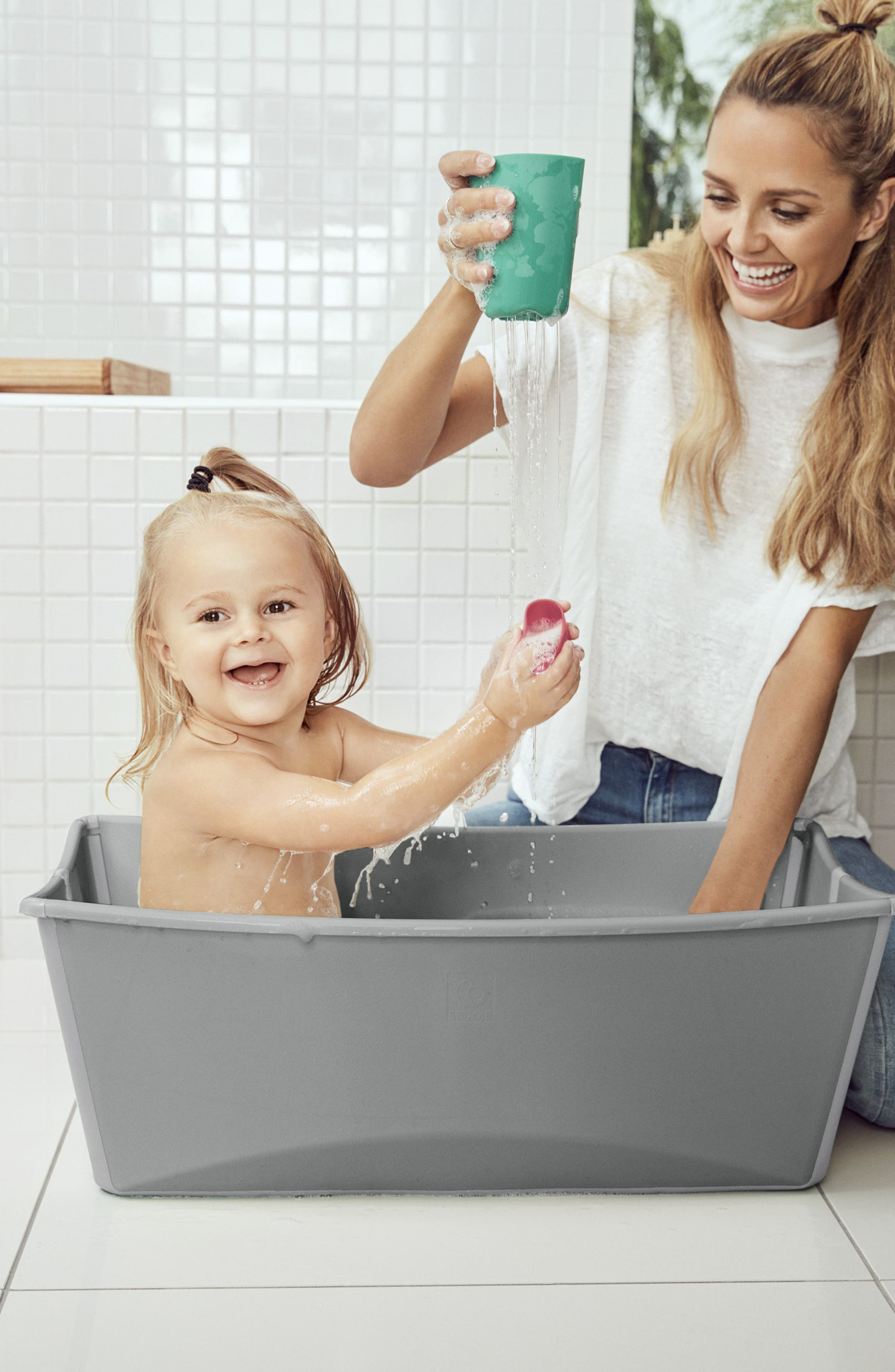 STOKKE, 'Flexi Bath<sup>®</sup>' Foldable Baby Bathtub, Alternate thumbnail 4, color, LIGHT GREY