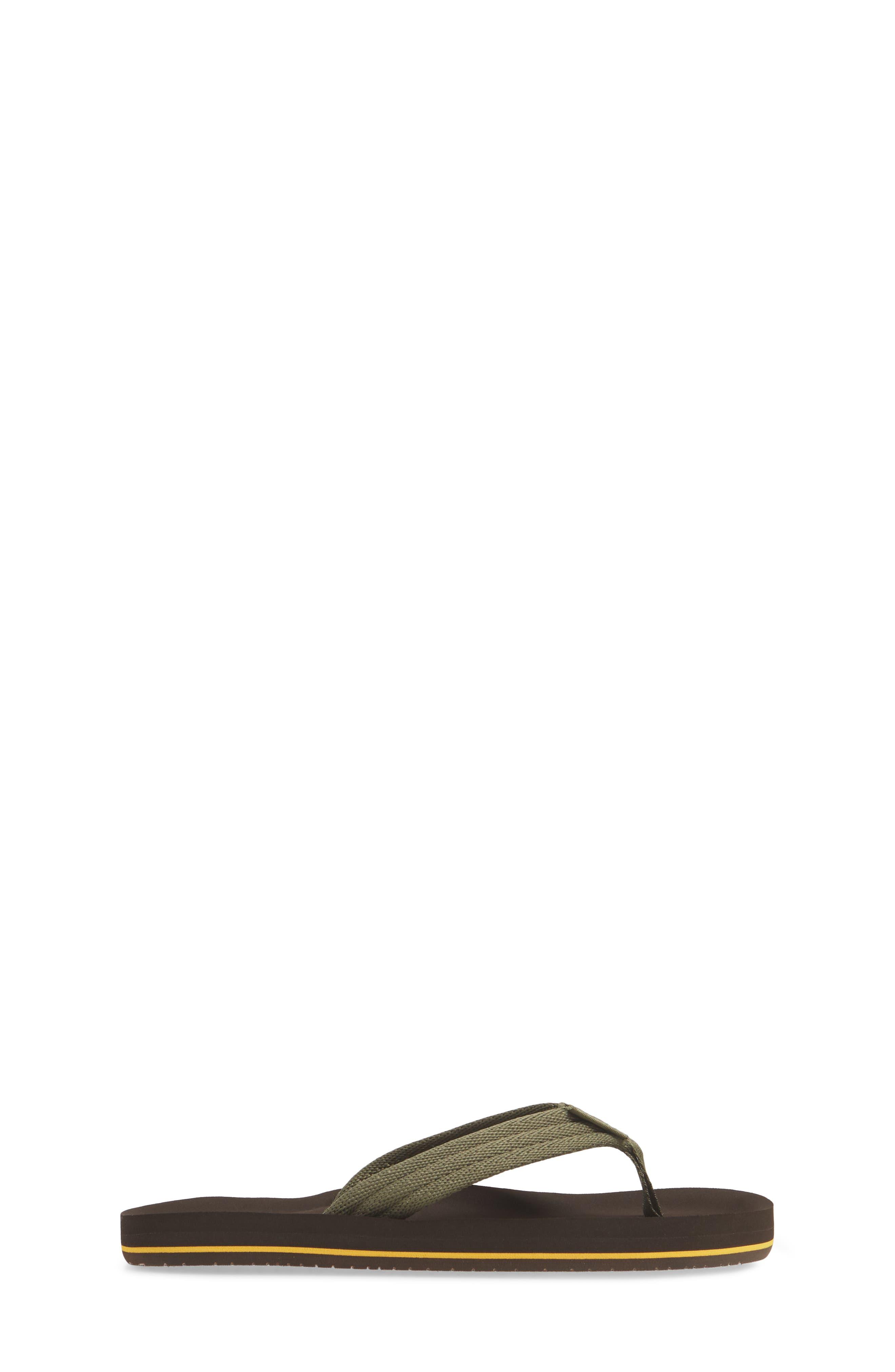 REEF, Ahi Beach Flip Flop, Alternate thumbnail 3, color, BROWN/ OLIVE