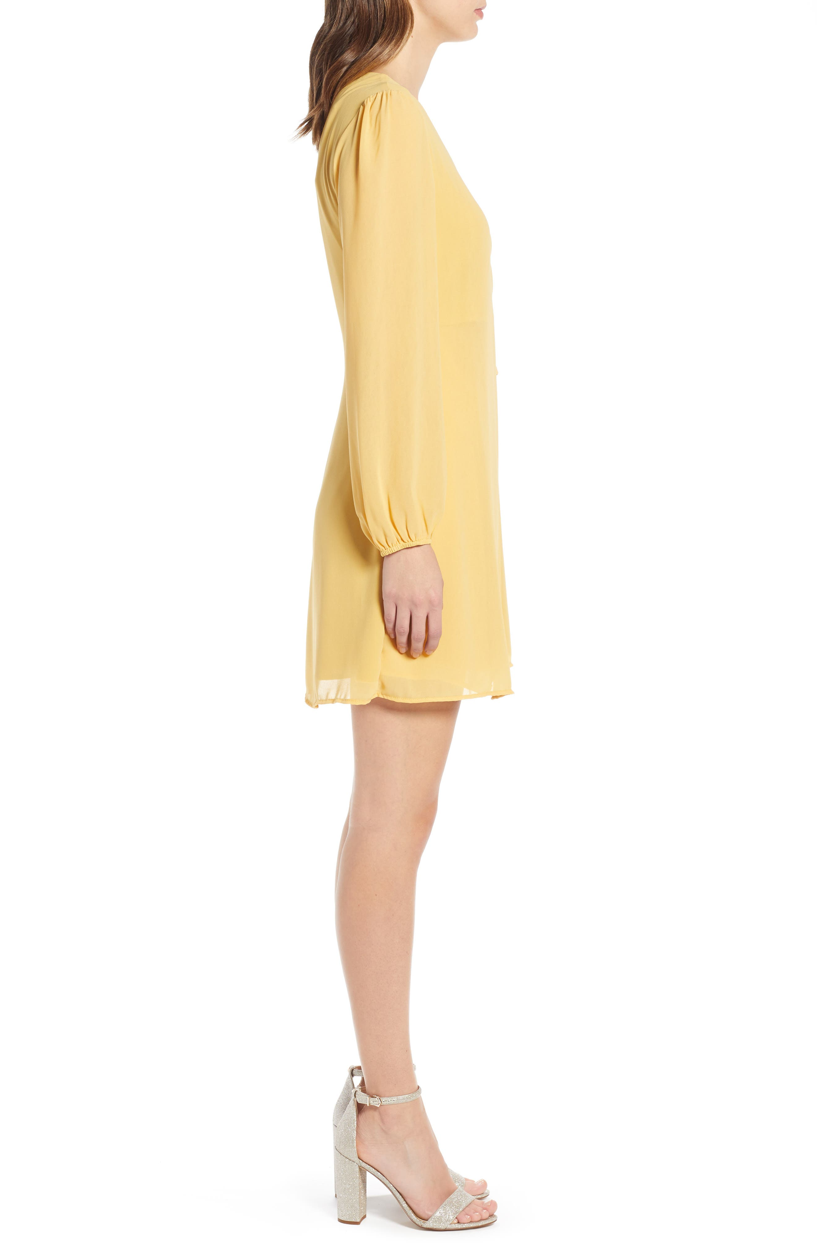 ROW A, Faux Wrap Dress, Alternate thumbnail 4, color, MUSTARD SOLID