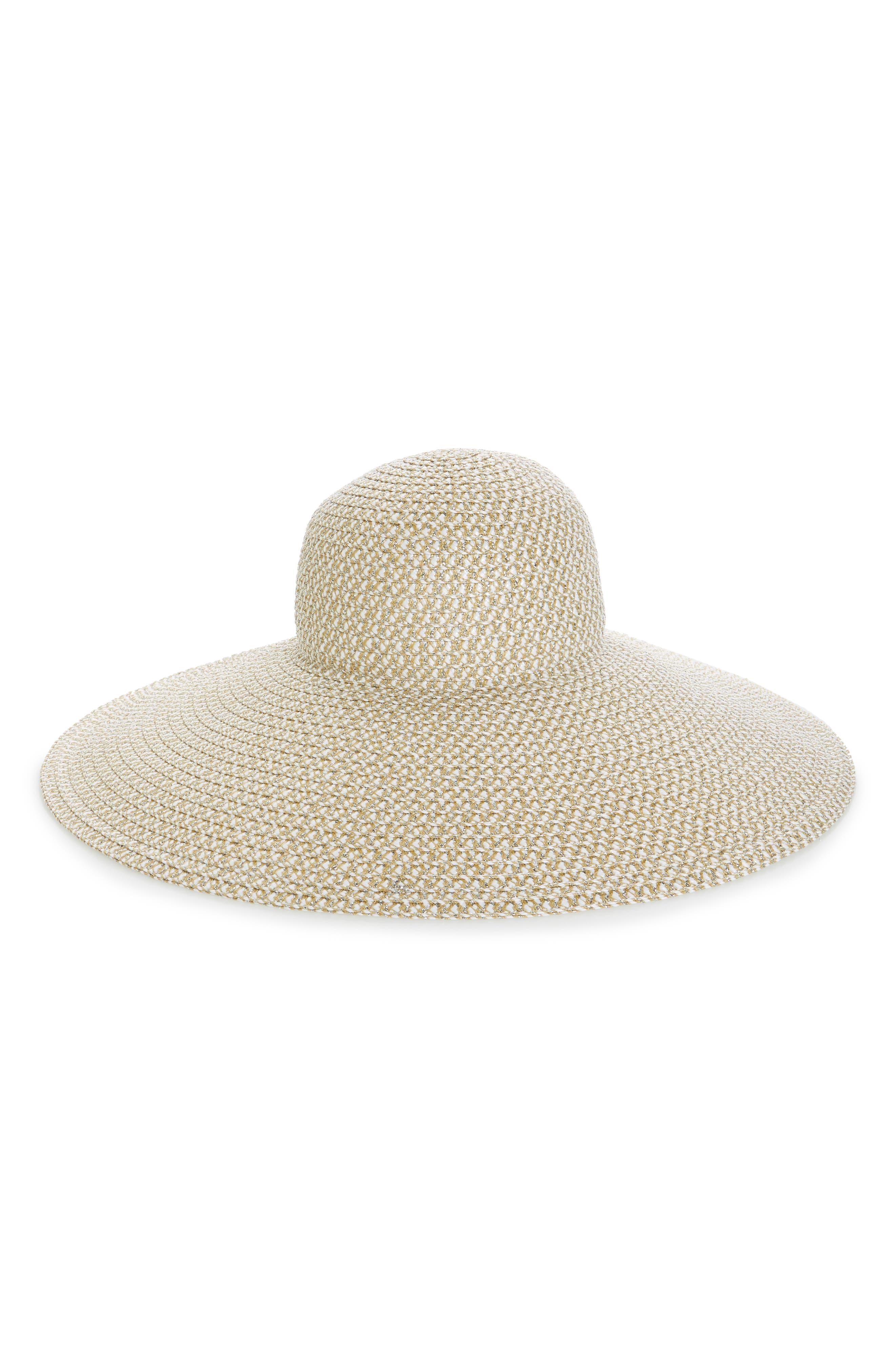 ERIC JAVITS, Floppy Straw Hat, Main thumbnail 1, color, ICE