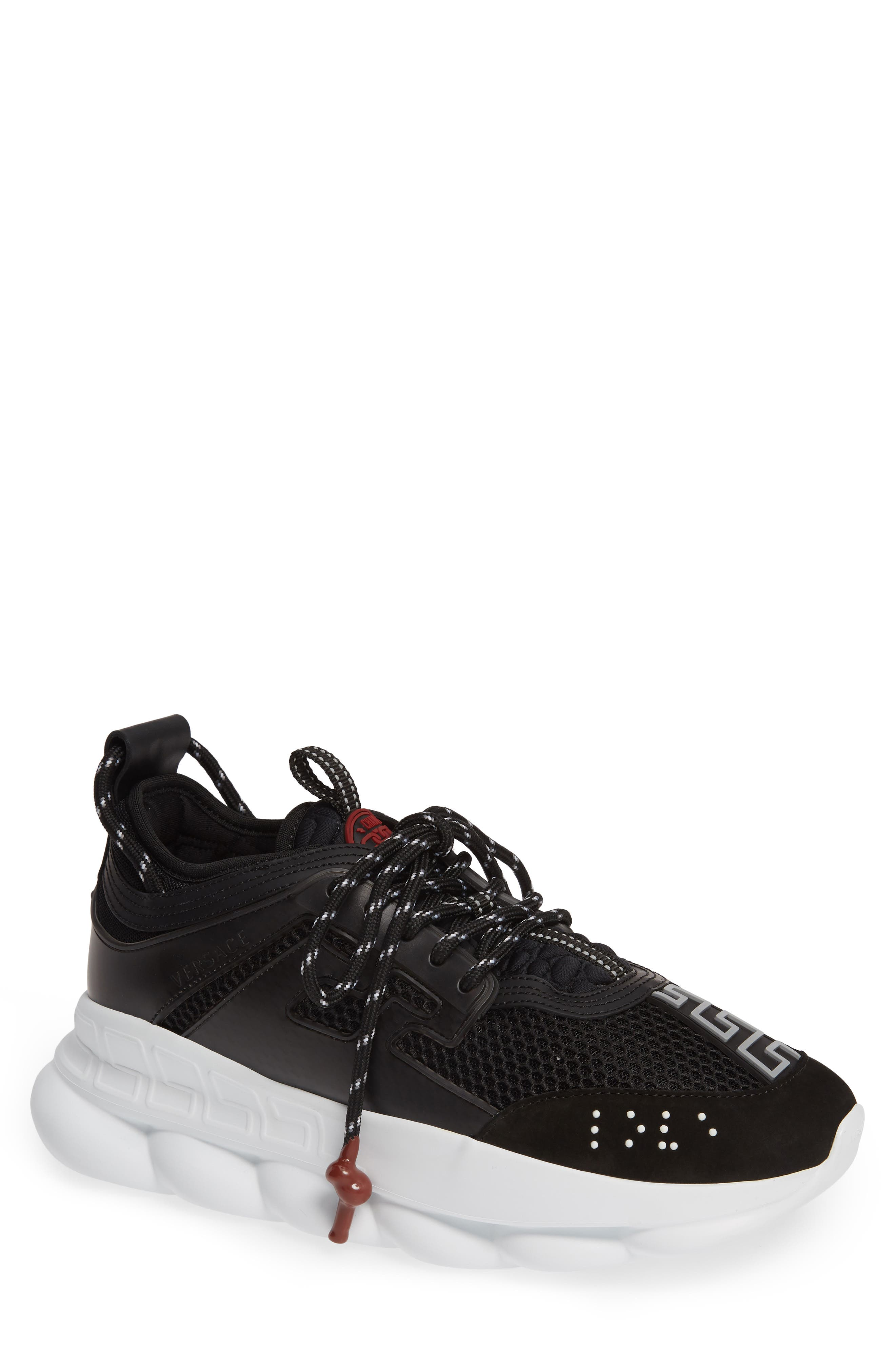VERSACE FIRST LINE, Versace Chain Reaction Sneaker, Main thumbnail 1, color, BLACK/ GREY