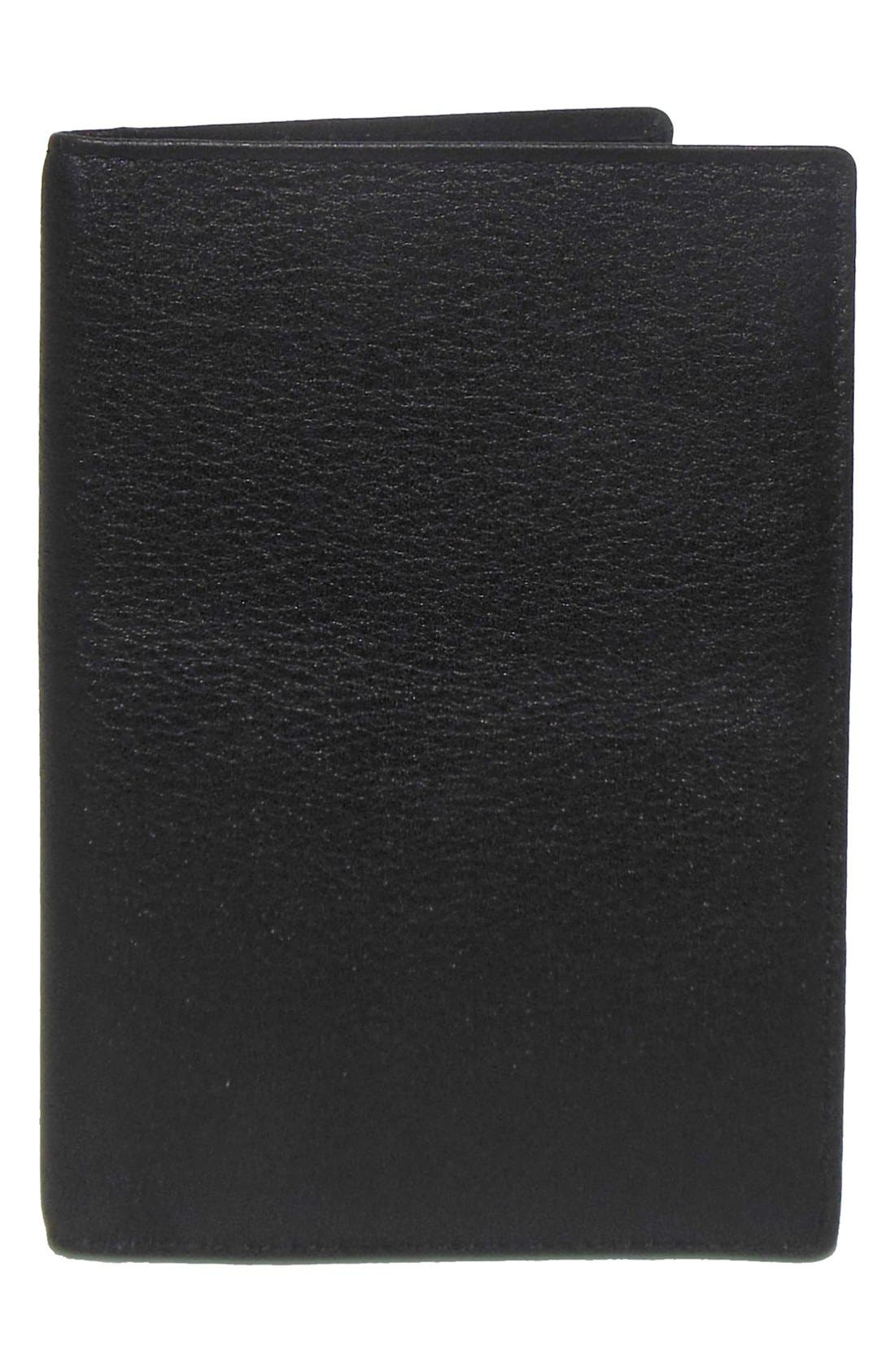 BOCONI, 'Grant' RFID Blocker Leather Passport Case, Alternate thumbnail 2, color, BLACK/ GREY