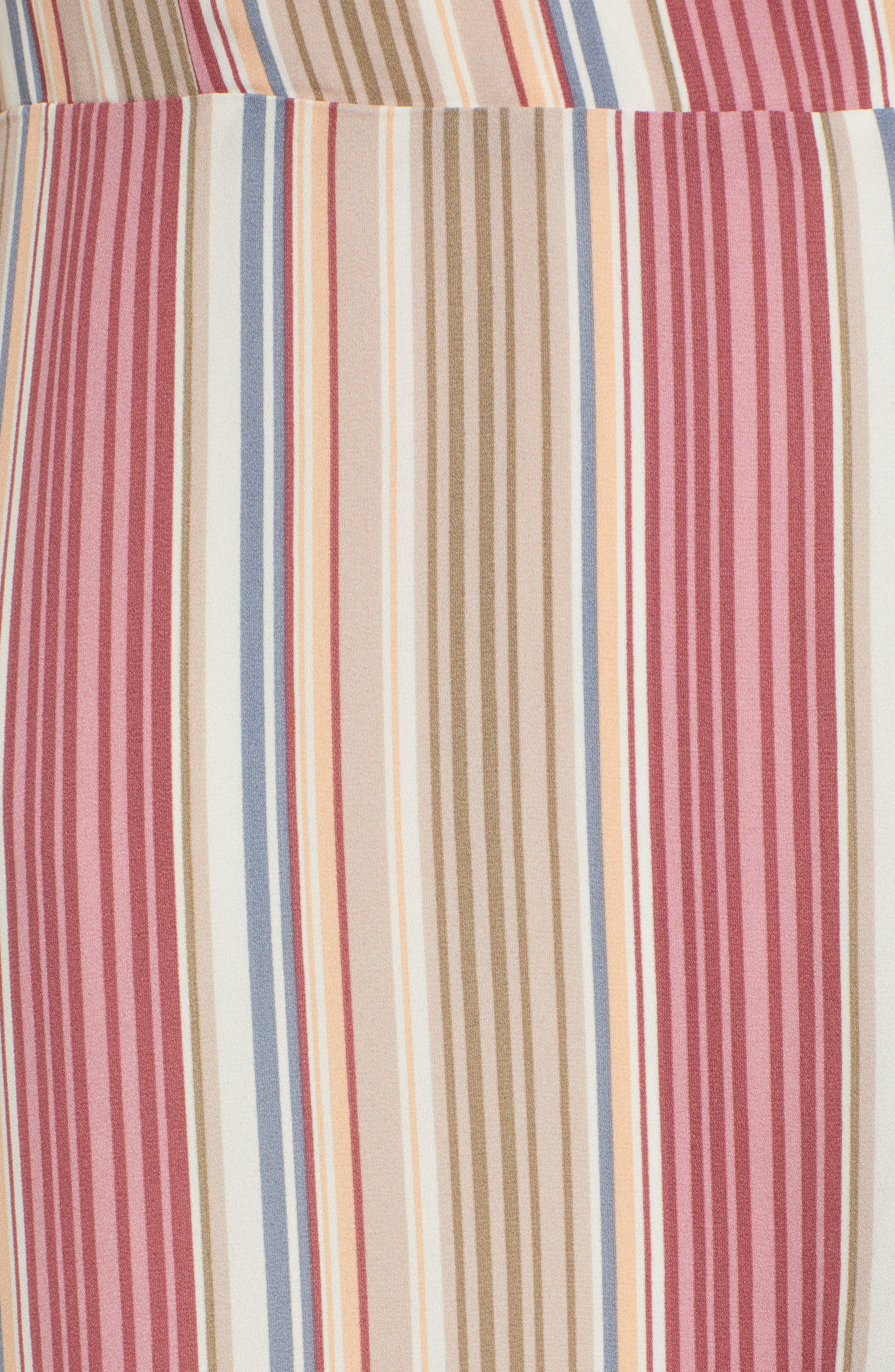 LEITH, Ruffle Wrap Maxi Dress, Alternate thumbnail 6, color, PINK CANYON TONAL STRIPE
