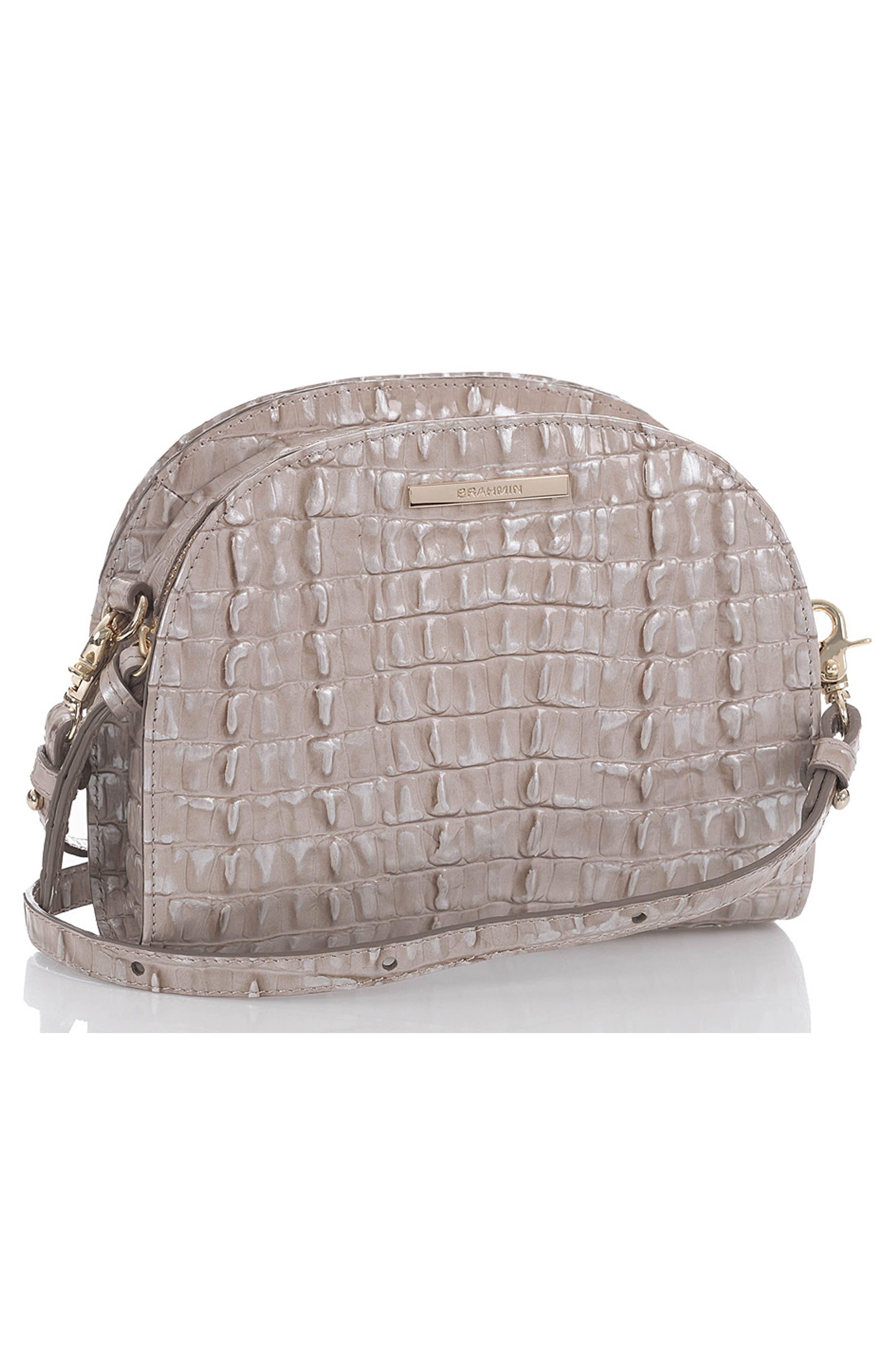 BRAHMIN, Leah Croc Embossed Leather Crossbody Bag, Alternate thumbnail 4, color, 020