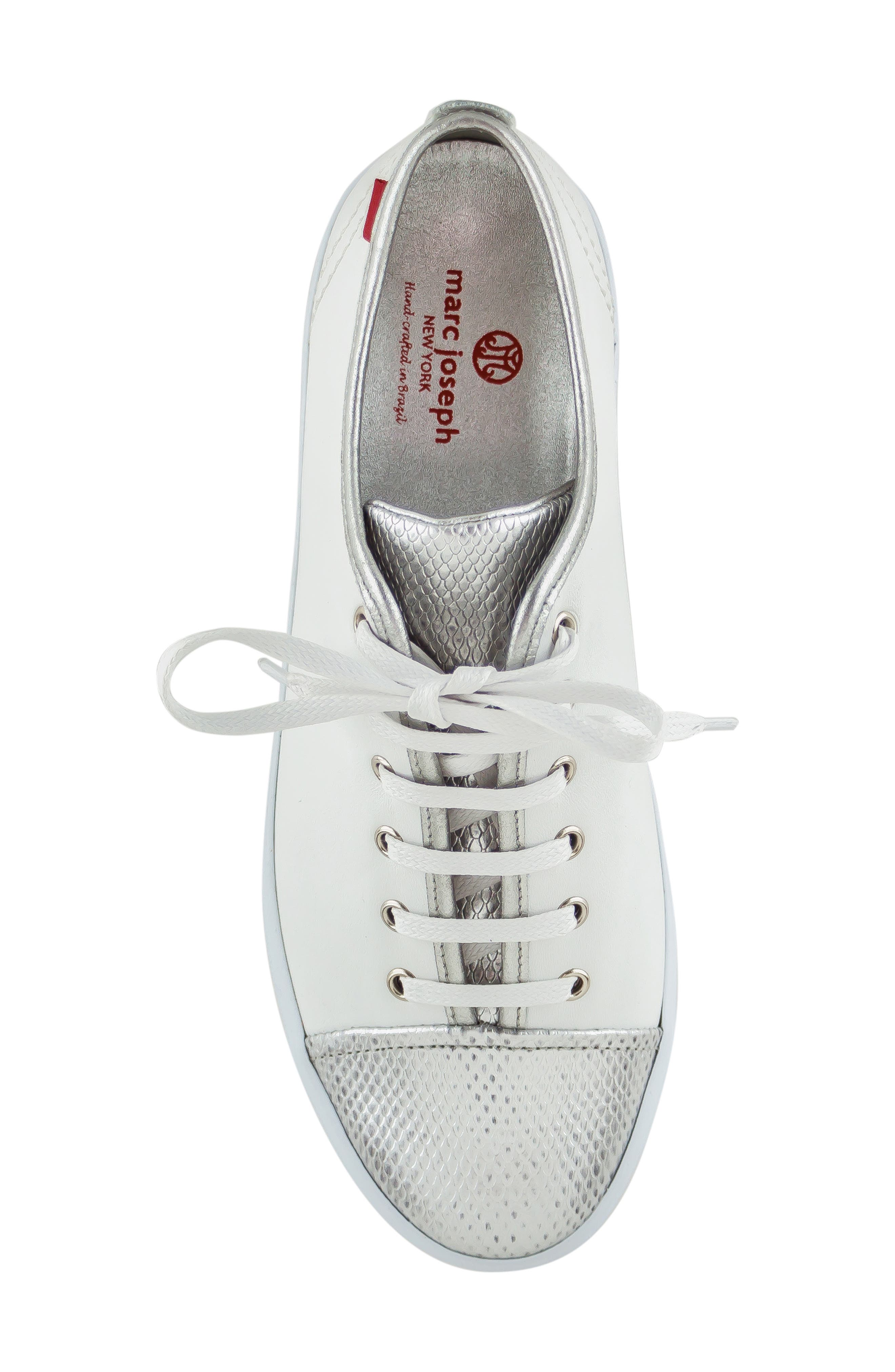 MARC JOSEPH NEW YORK, Bleecker Street Sneaker, Alternate thumbnail 5, color, WHITE/ GIPSY SILVER LEATHER
