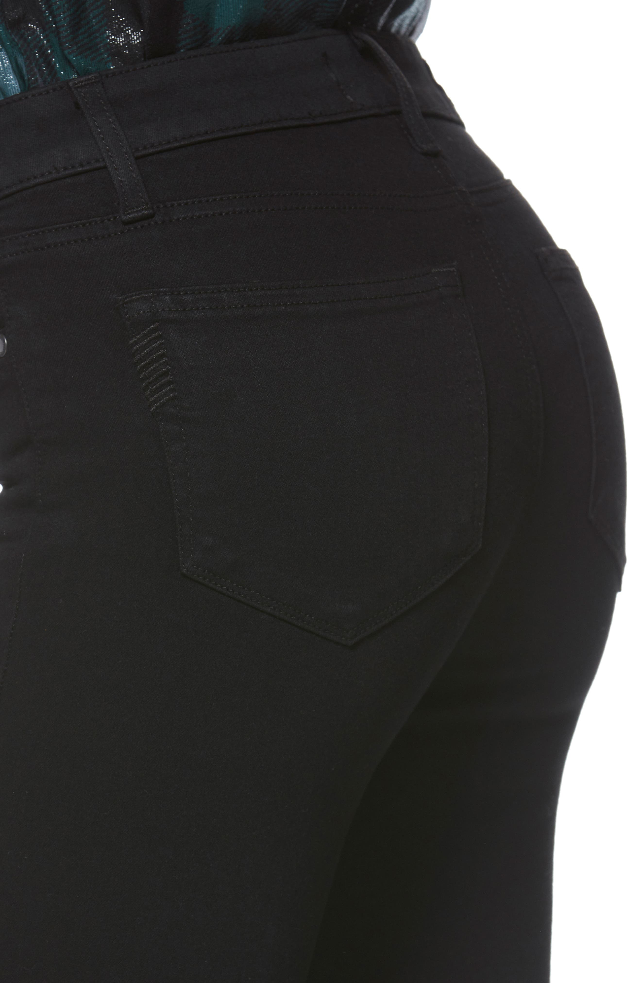PAIGE, Transcend - Skyline Skinny Jeans, Alternate thumbnail 7, color, BLACK SHADOW
