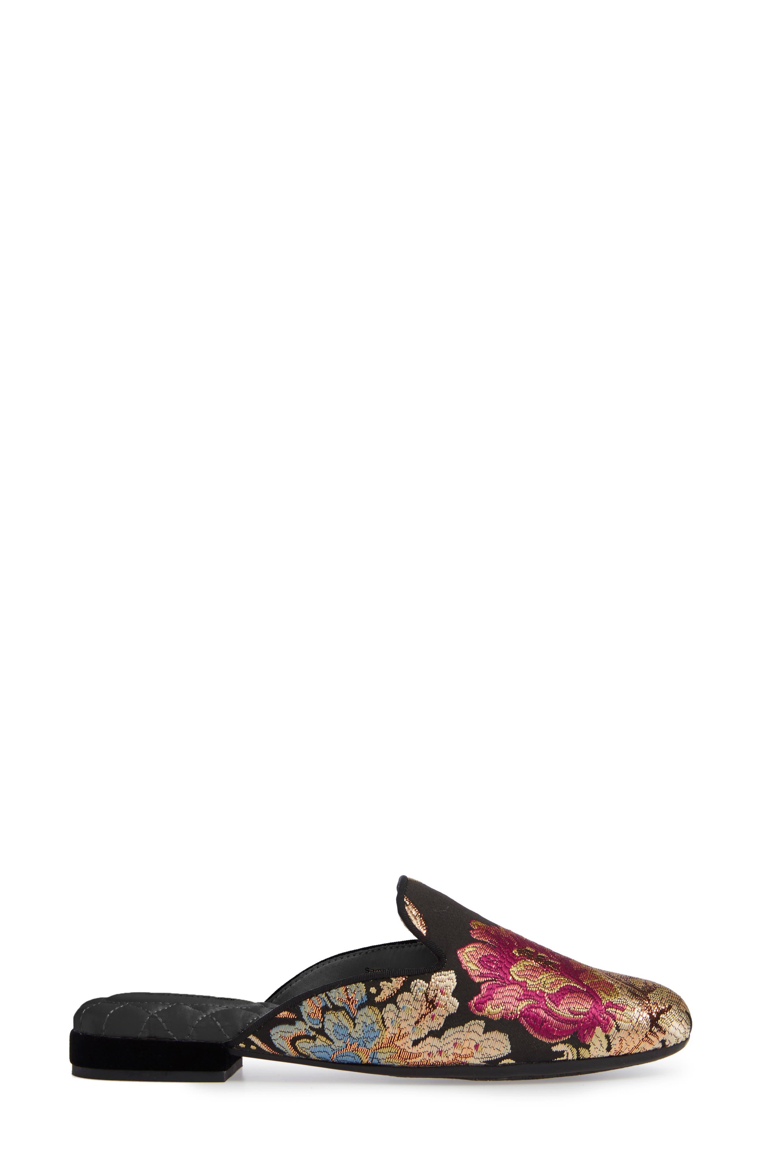 BIRDIES, Phoebe Slipper, Alternate thumbnail 3, color, FLORAL JACQUARD SATIN