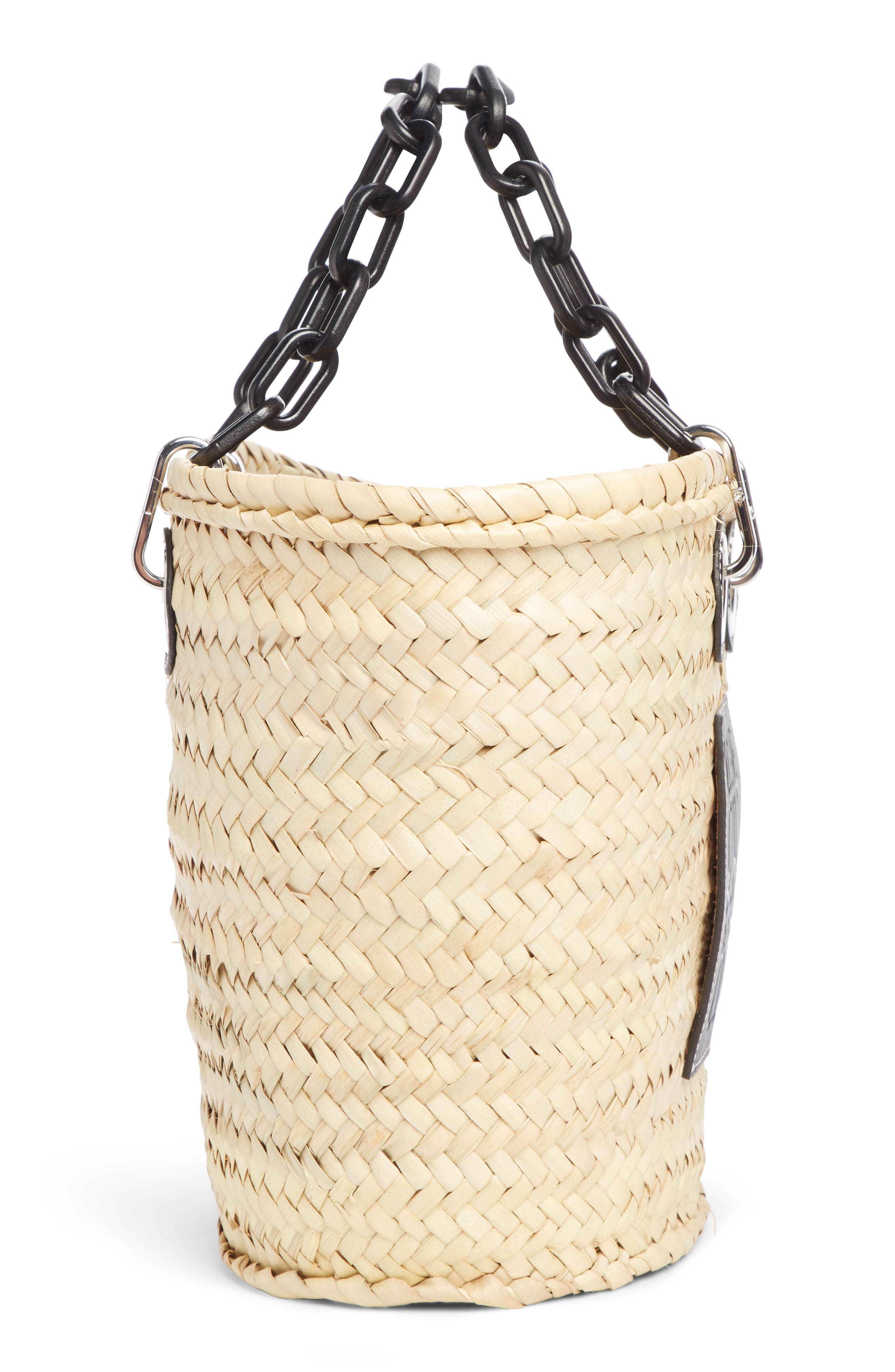 LOEWE, Chain Handle Woven Palm Market Basket, Alternate thumbnail 4, color, NATURAL/ BLACK