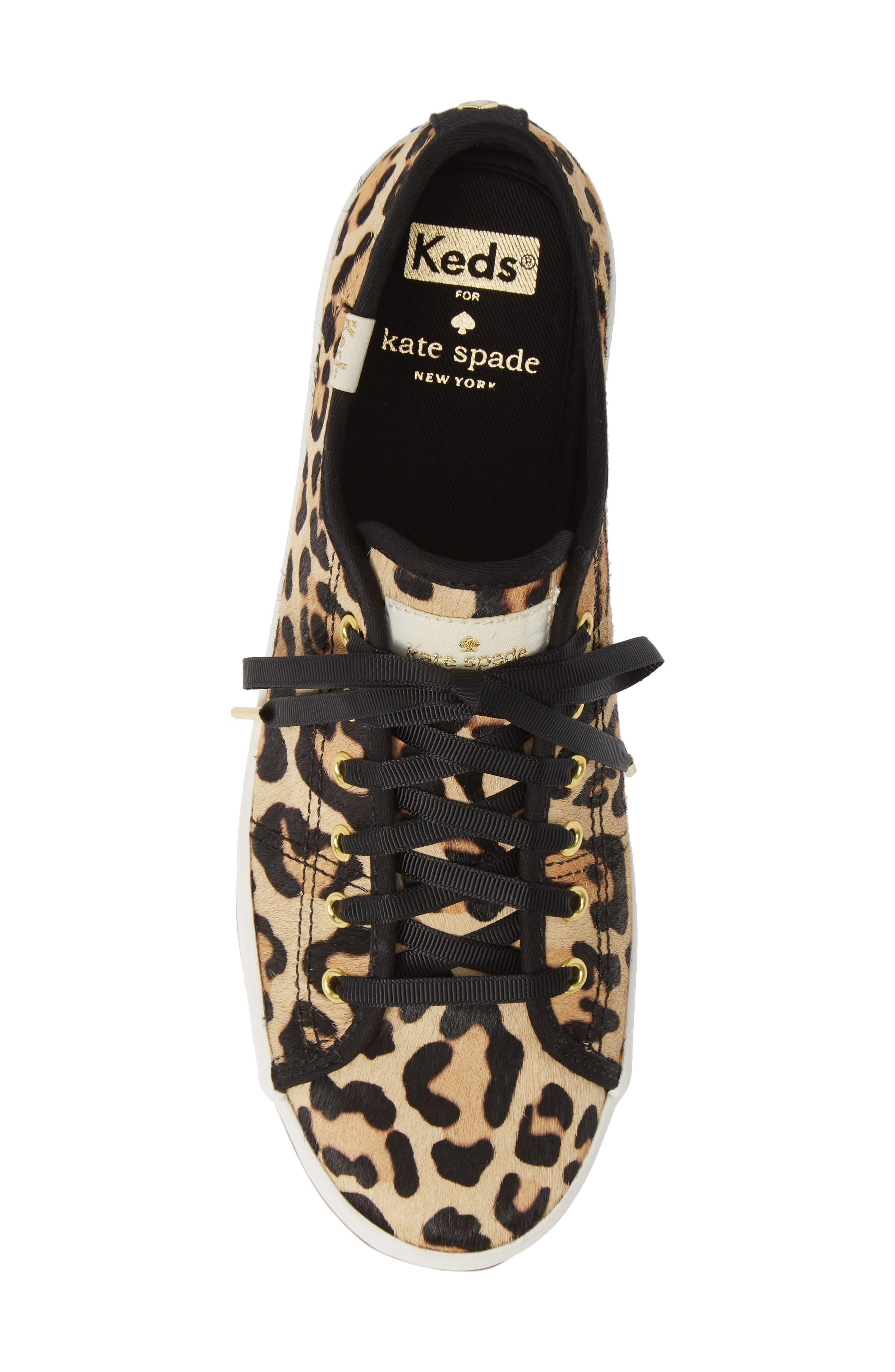 KEDS<SUP>®</SUP> FOR KATE SPADE NEW YORK, kickstart genuine calf hair sneaker, Alternate thumbnail 5, color, TAN LEOPARD CALF HAIR