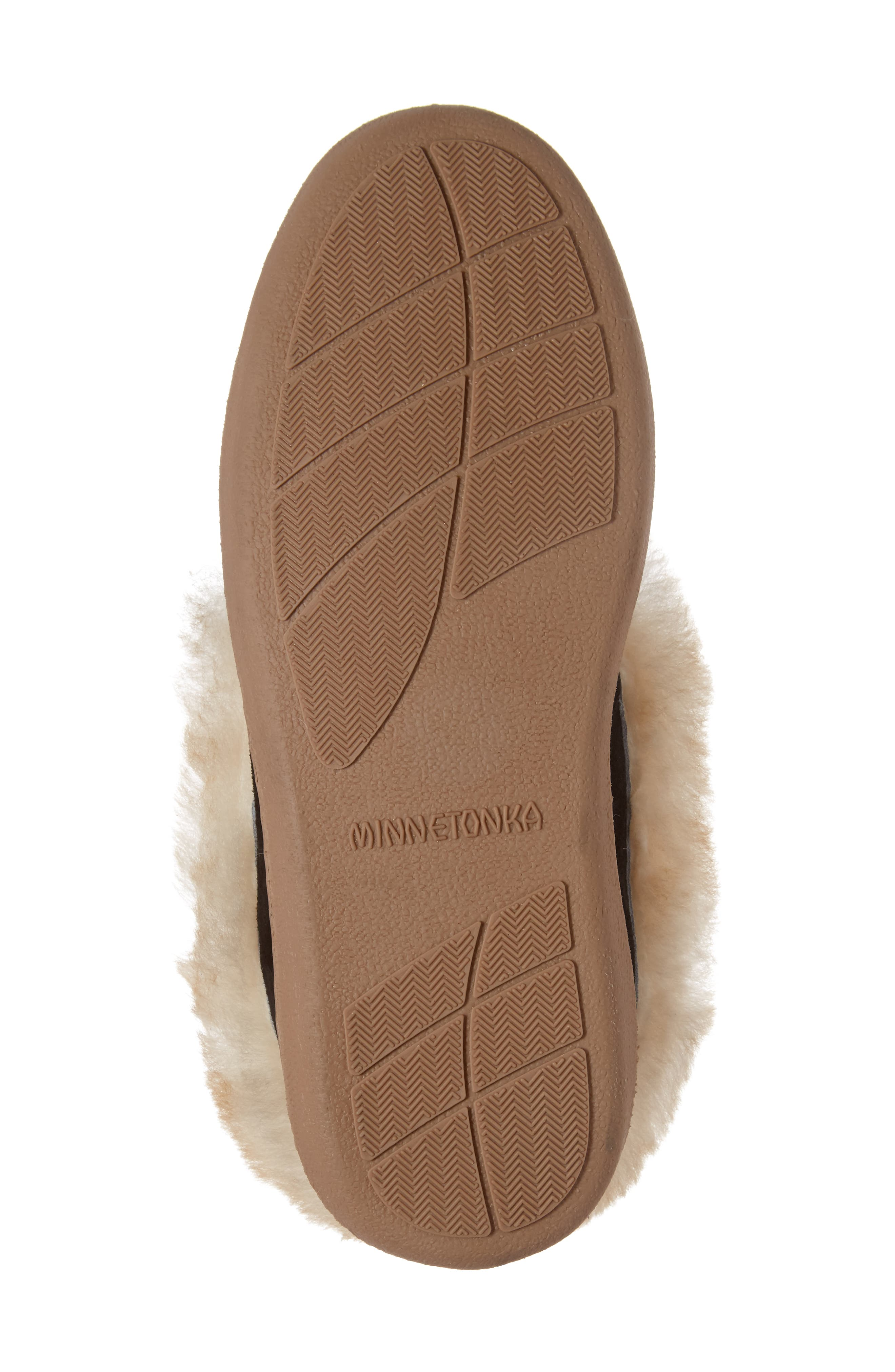 MINNETONKA, Alpine Genuine Shearling Slipper, Alternate thumbnail 6, color, BLACK