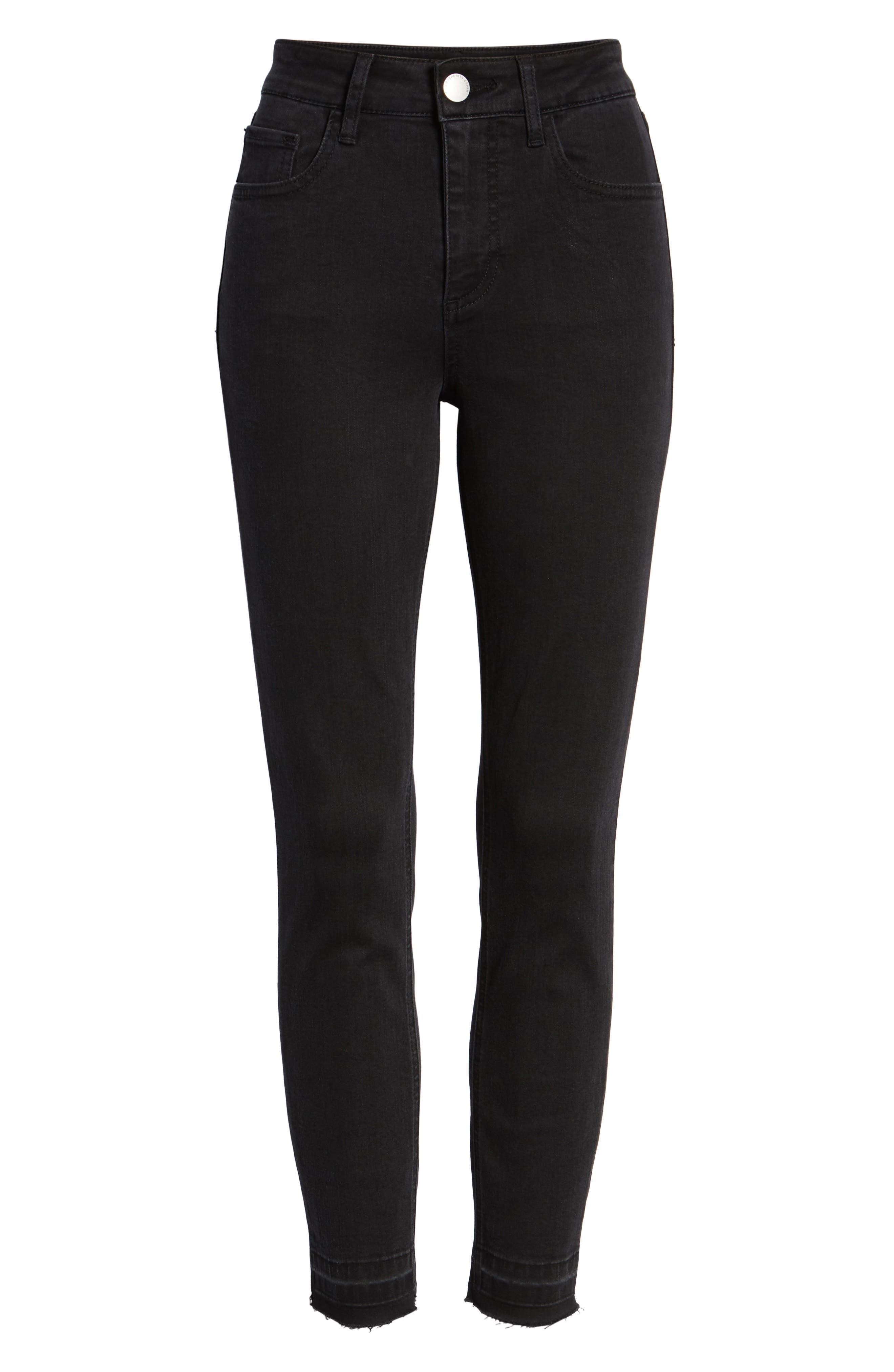 PROSPERITY DENIM, Release Hem Skinny Jeans, Alternate thumbnail 7, color, BLACK
