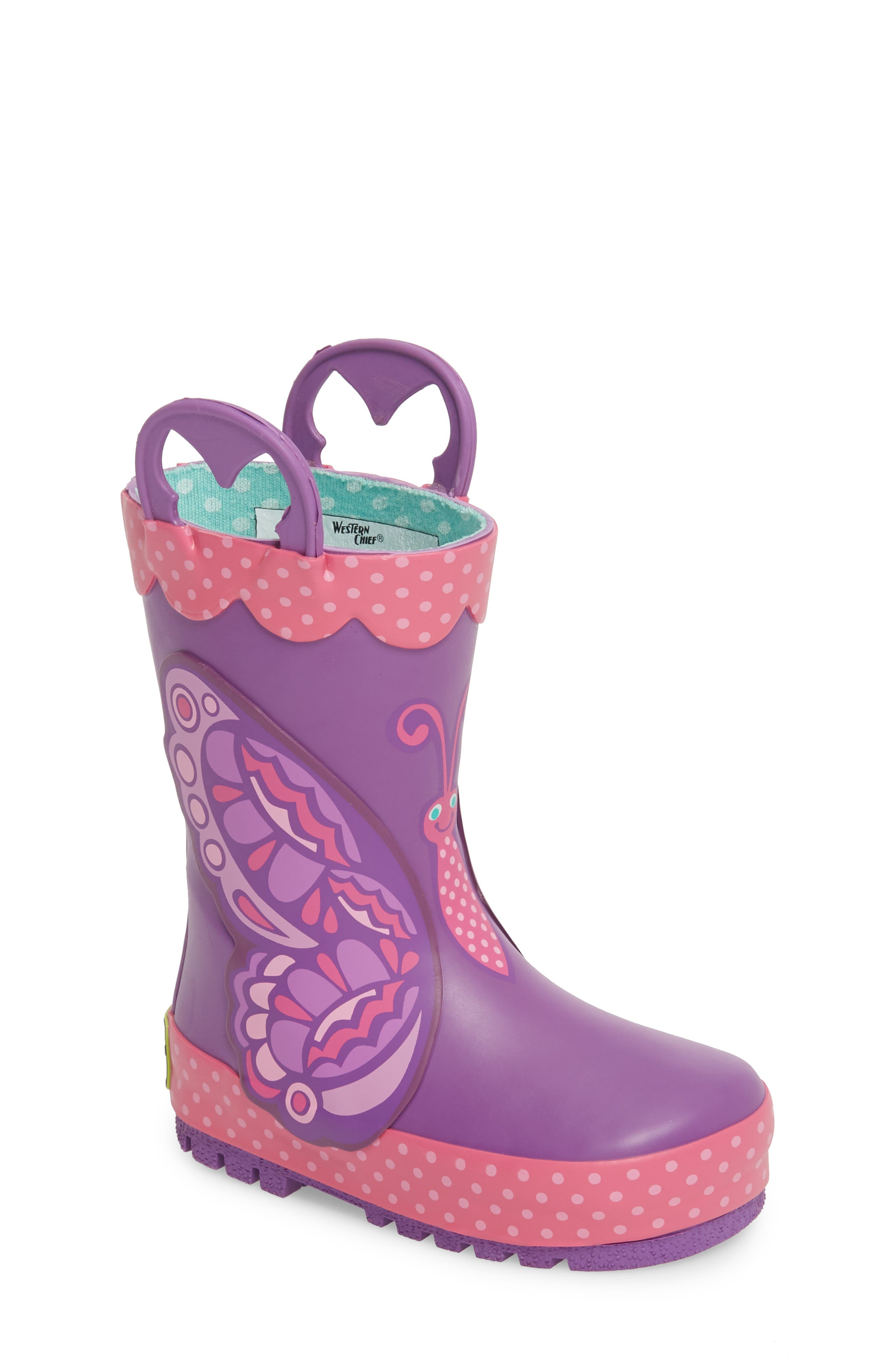 WESTERN CHIEF, Betty Butterfly Rain Boot, Main thumbnail 1, color, PURPLE
