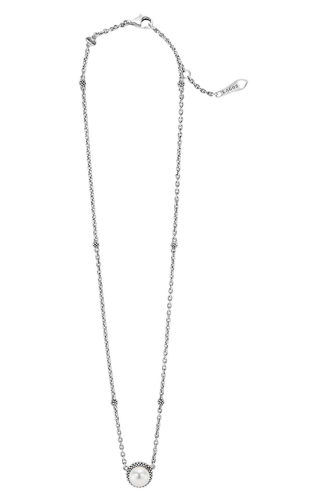 LAGOS, 'Luna' Pearl Pendant Necklace, Alternate thumbnail 4, color, SILVER/ PEARL