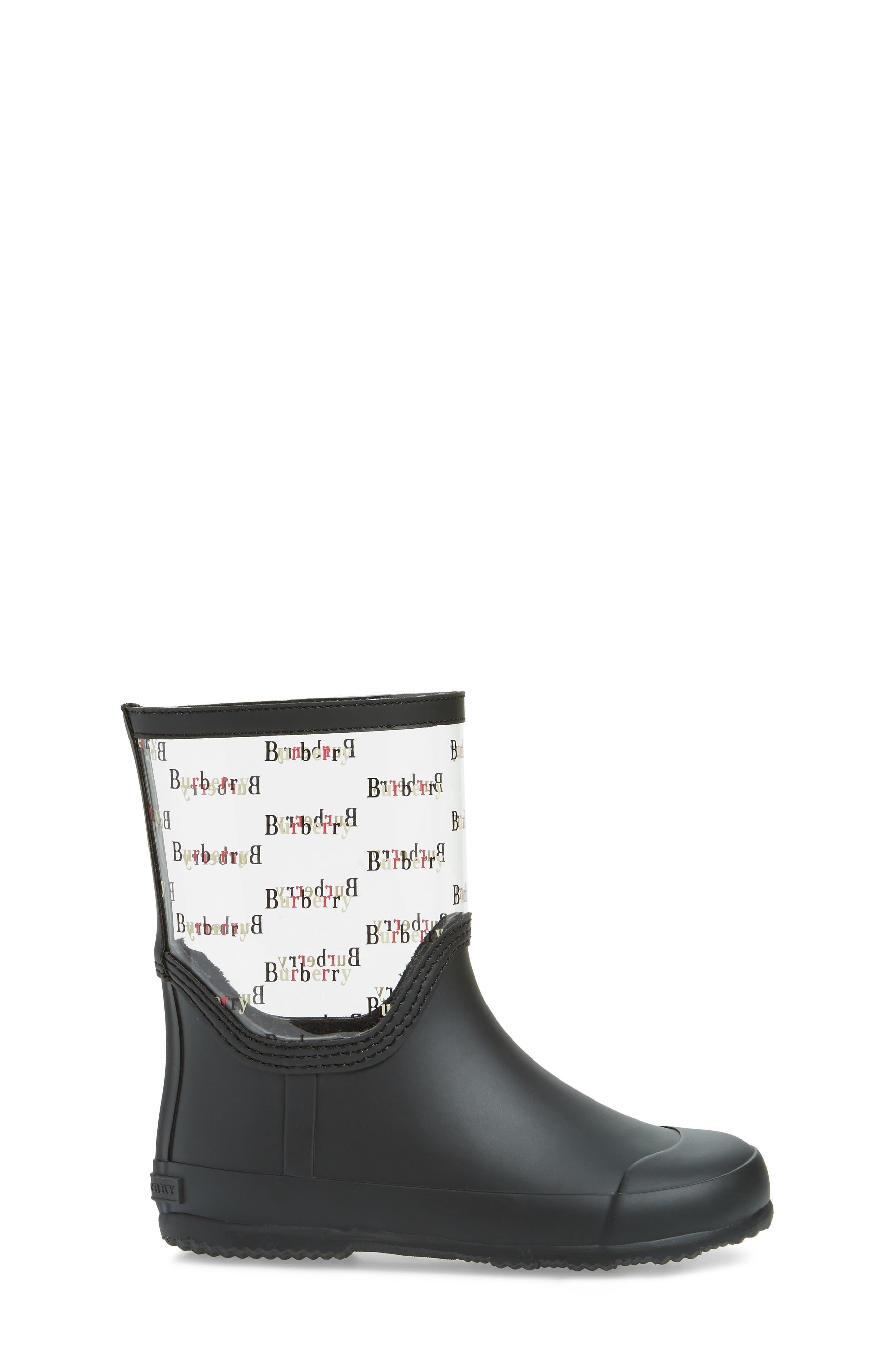 BURBERRY, Frosty Waterproof Rain Boot, Alternate thumbnail 3, color, BLACK