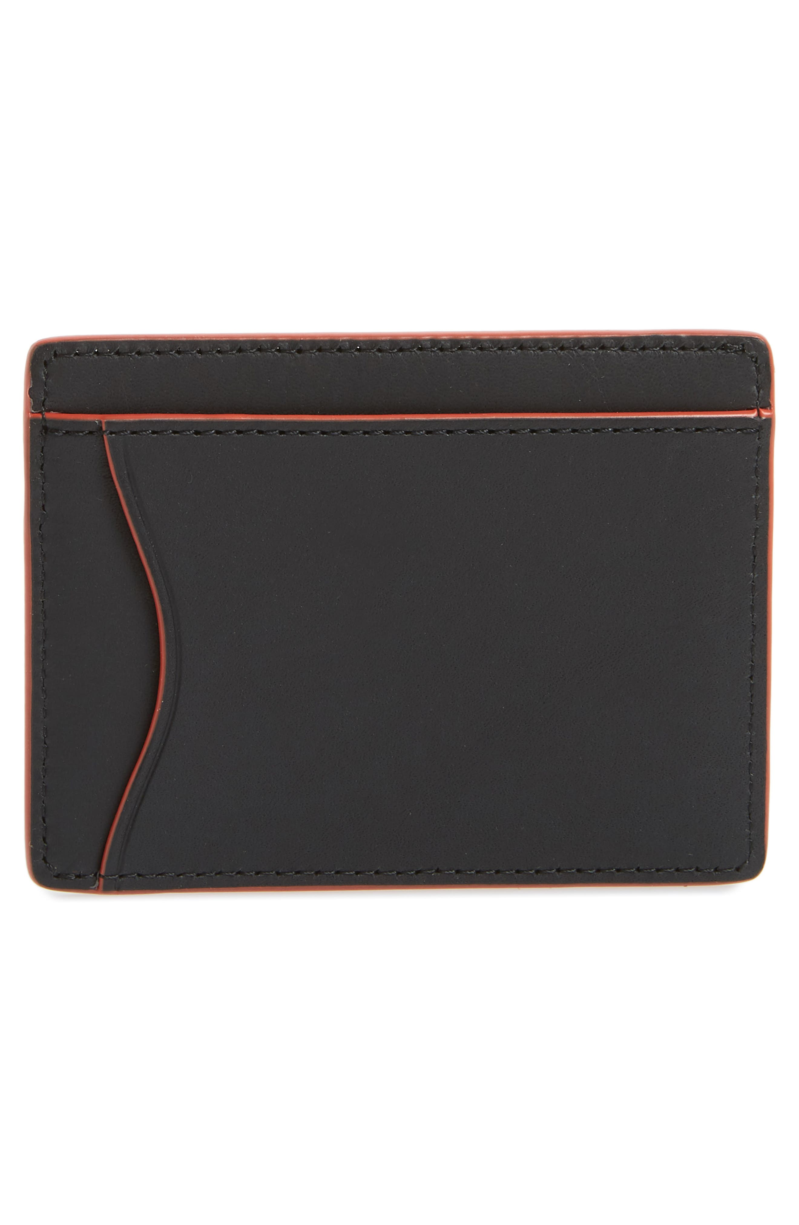 RAG & BONE, Hampshire Leather Card Case, Alternate thumbnail 2, color, BLACK COMBO