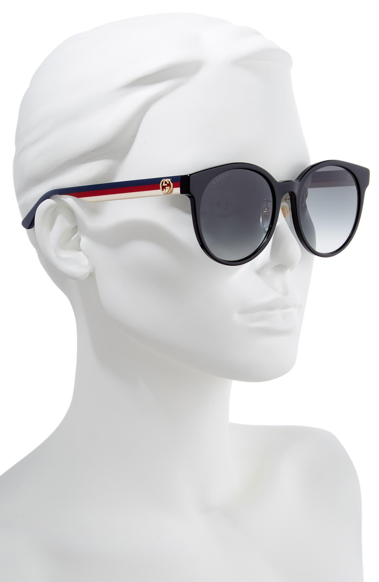 GUCCI, 55mm Round Sunglasses, Alternate thumbnail 2, color, BLACK/ MULTI/ GREY GRADIENT