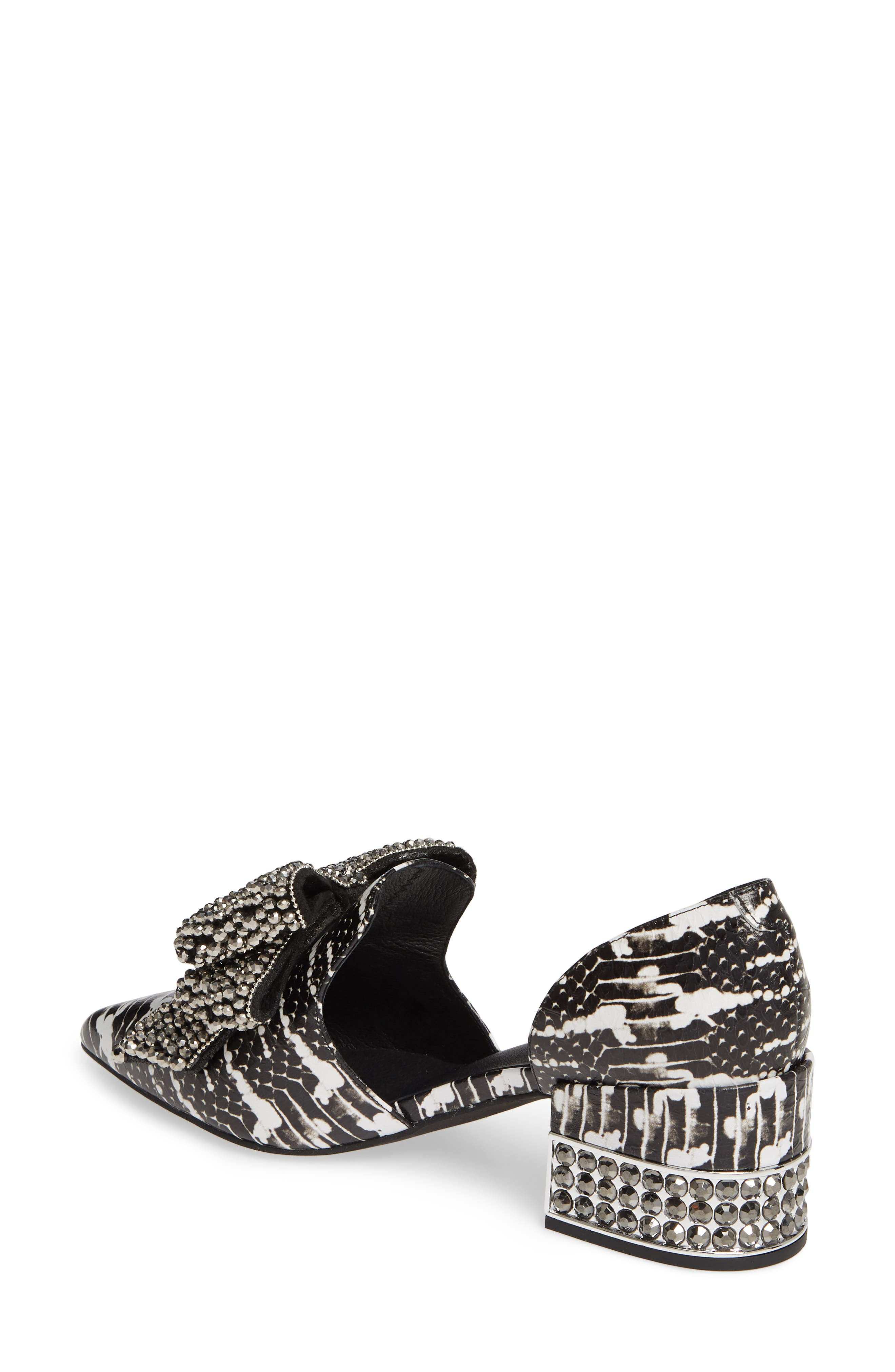 JEFFREY CAMPBELL, Valenti Embellished Bow Loafer, Alternate thumbnail 2, color, BLACK/WHITE/PEWTER