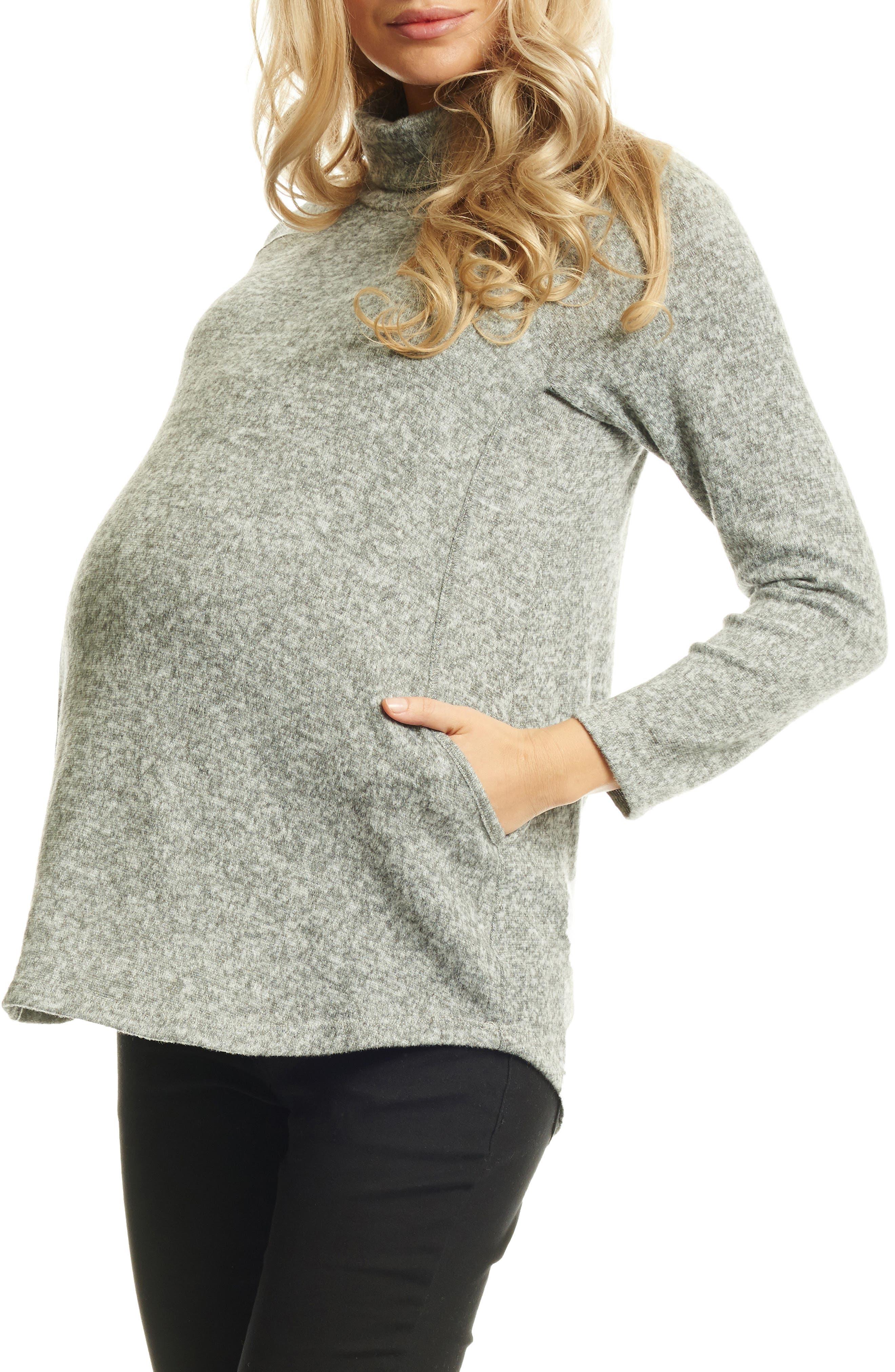 EVERLY GREY Teresa Maternity/Nursing Turtleneck, Main, color, HEATHER GREY